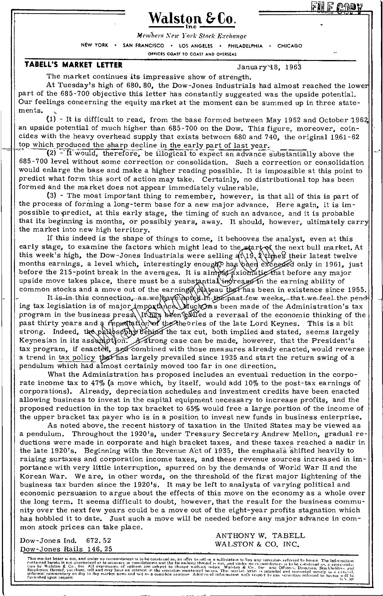 Tabell's Market Letter - January 18, 1963