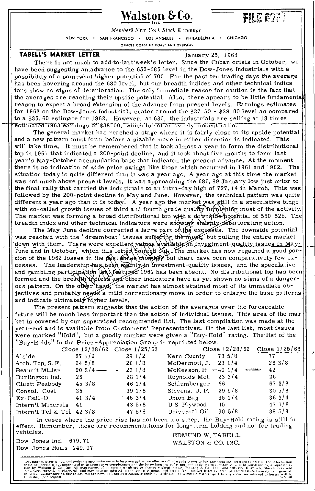 Tabell's Market Letter - January 25, 1963