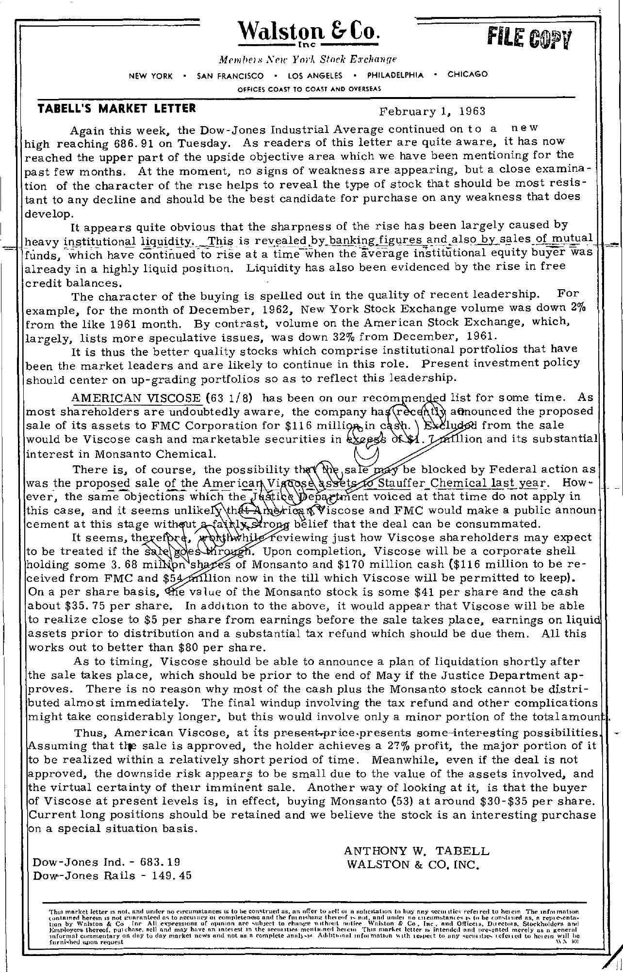 Tabell's Market Letter - February 01, 1963