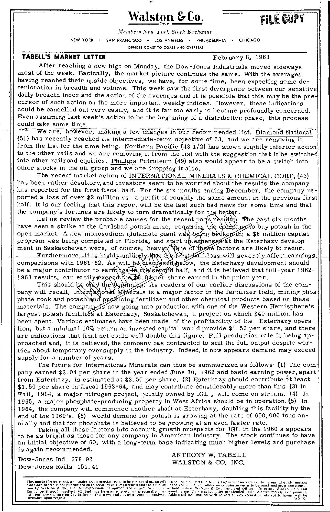 Tabell's Market Letter - February 08, 1963