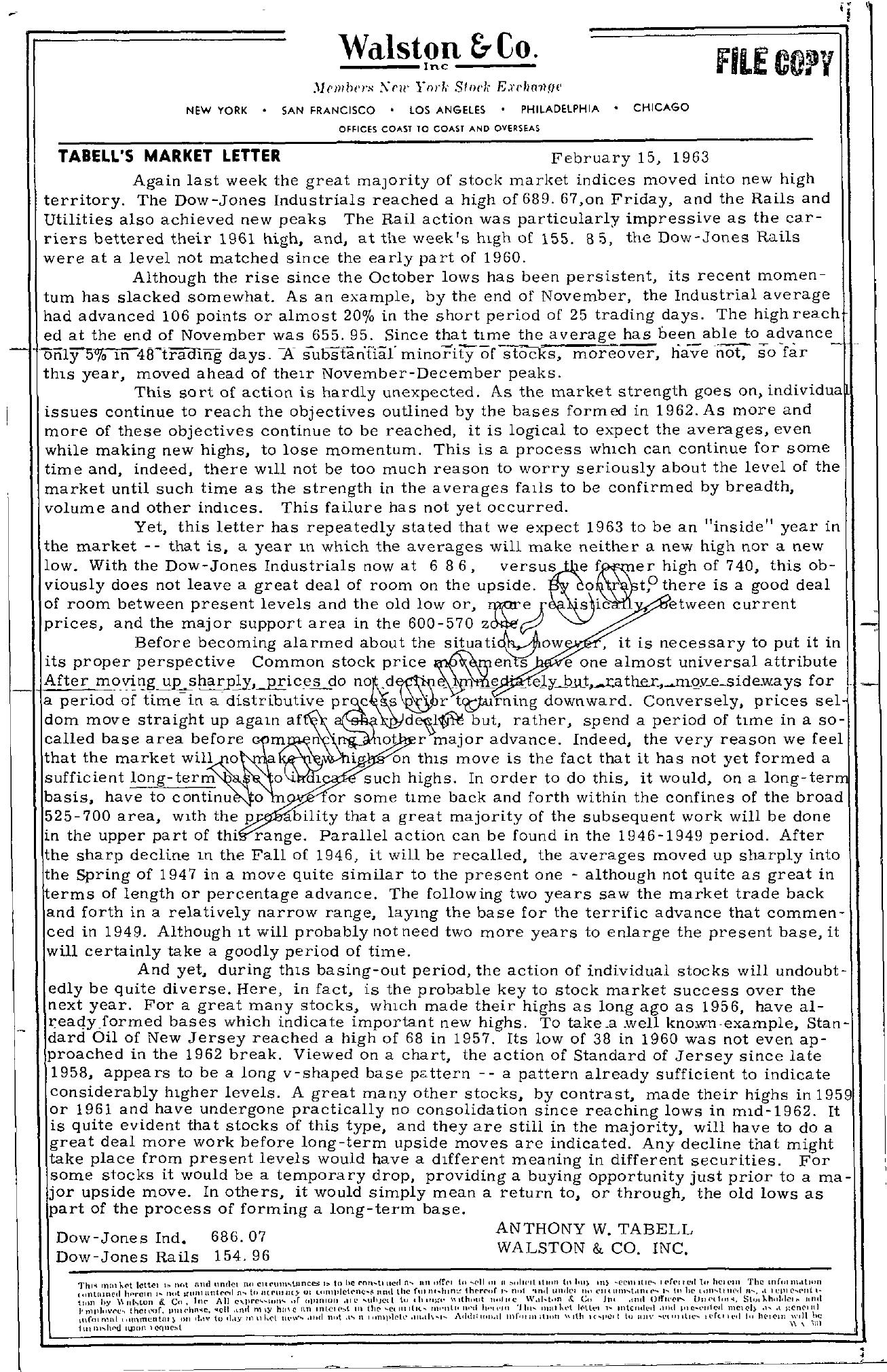 Tabell's Market Letter - February 15, 1963