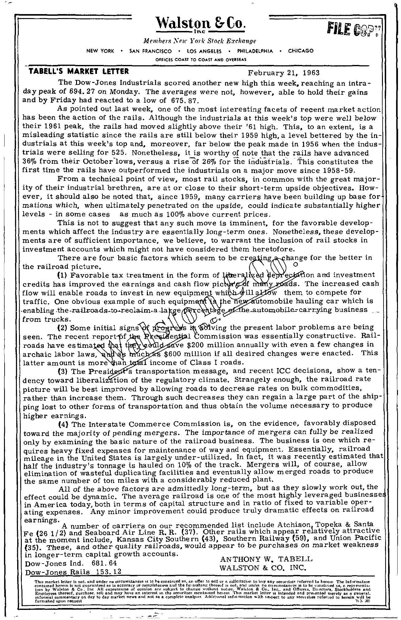 Tabell's Market Letter - February 21, 1963