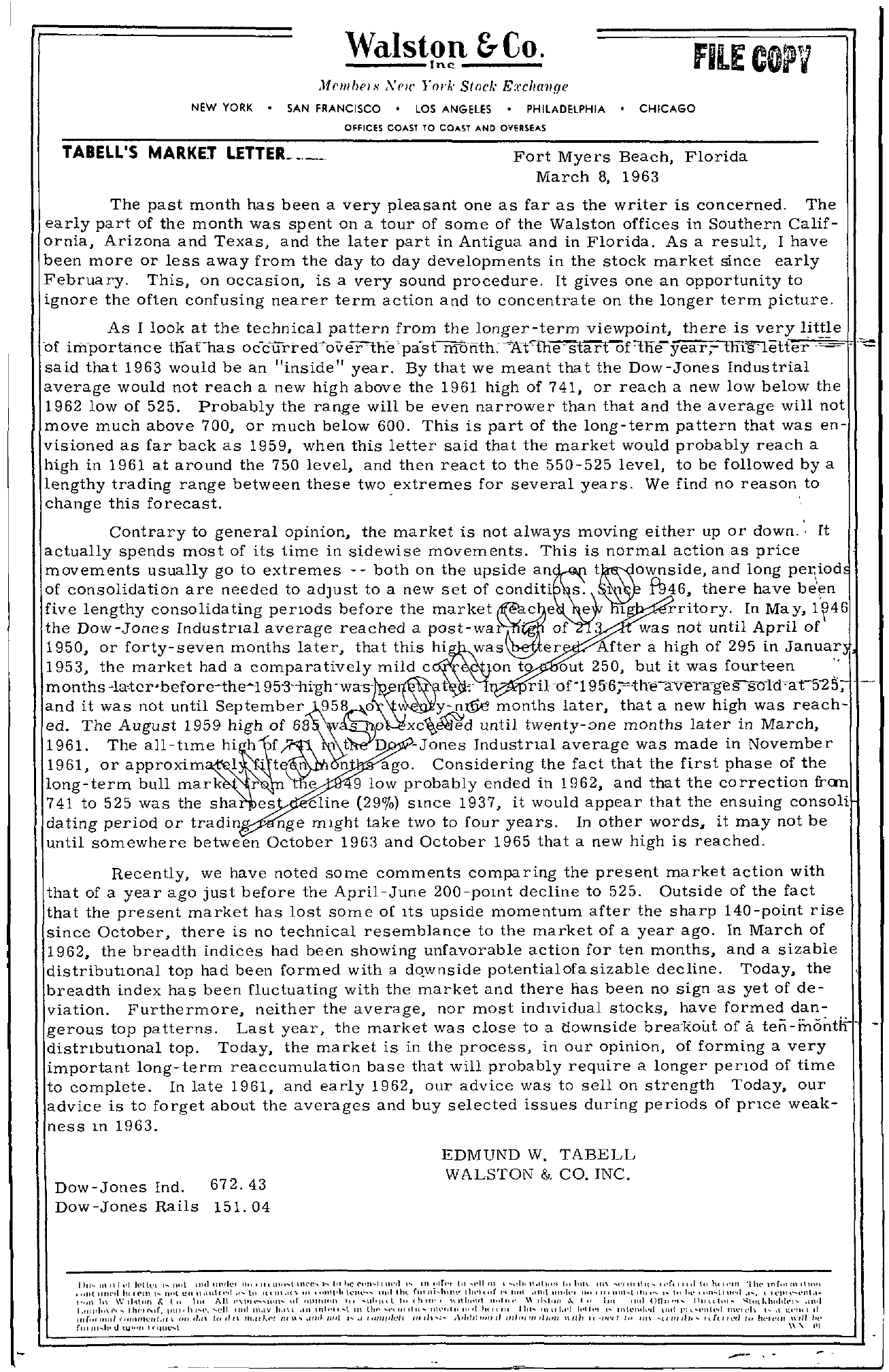 Tabell's Market Letter - March 08, 1963 page 1