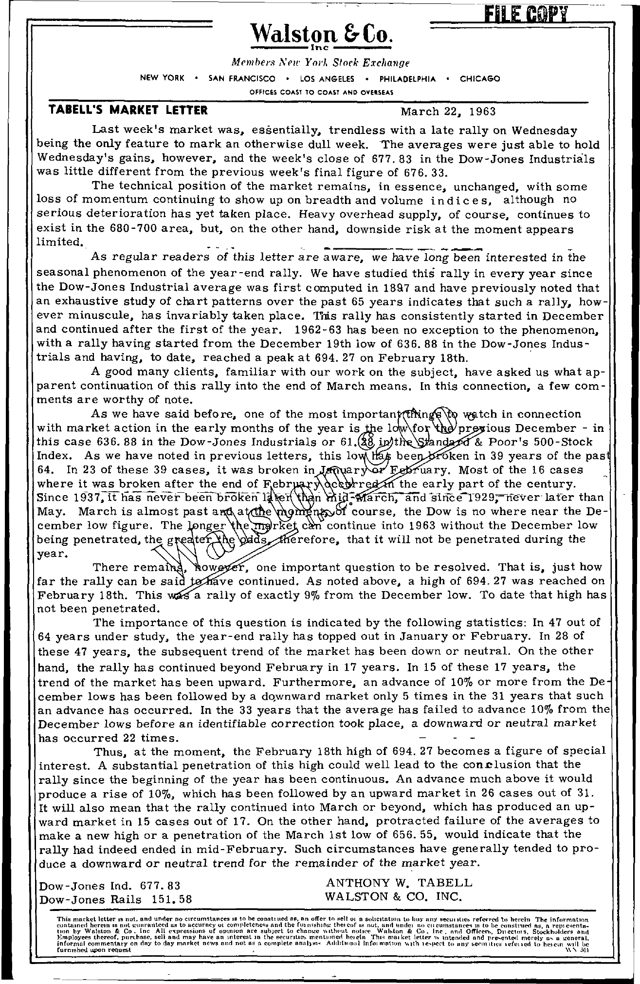 Tabell's Market Letter - March 22, 1963