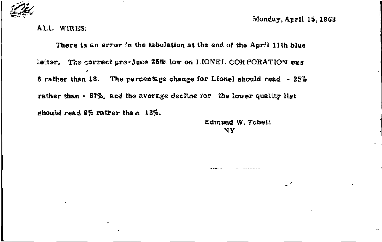 Tabell's Market Letter - April 15, 1963