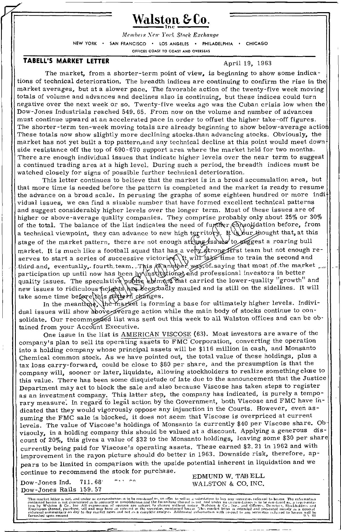 Tabell's Market Letter - April 19, 1963