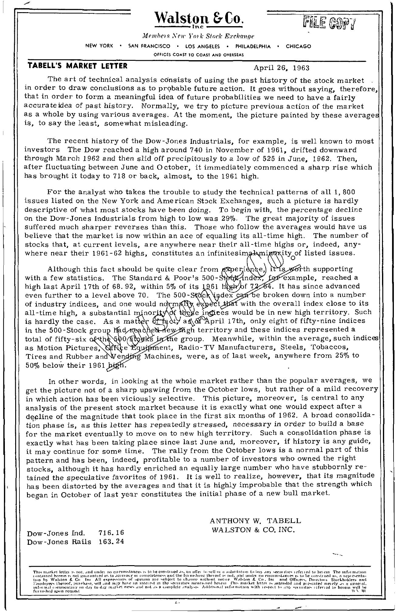 Tabell's Market Letter - April 26, 1963
