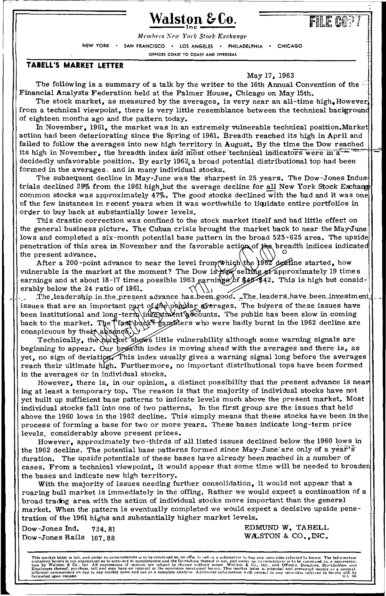 Tabell's Market Letter - May 17, 1963