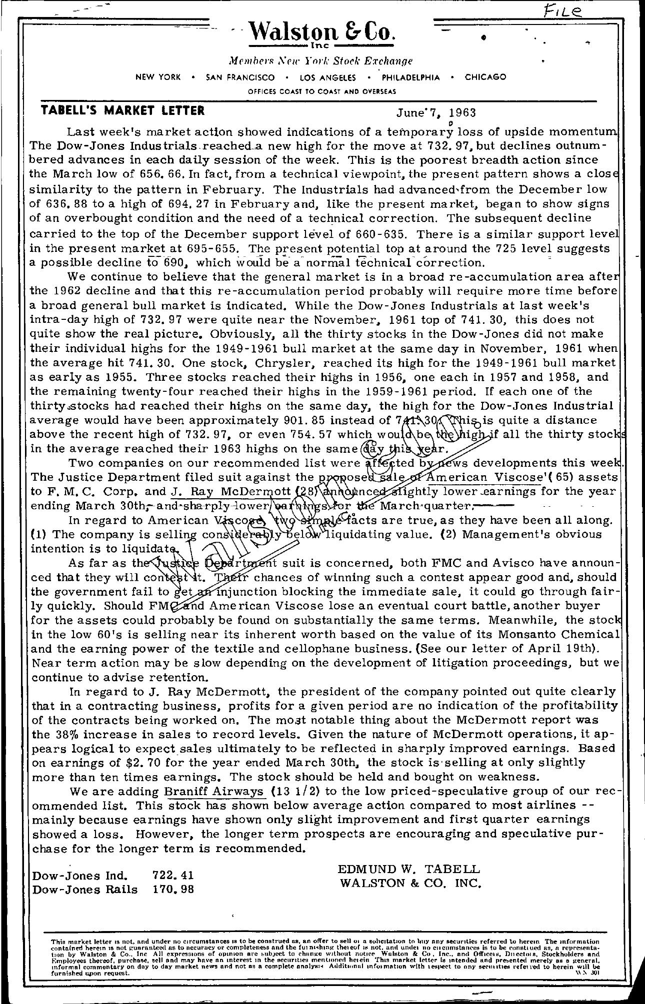 Tabell's Market Letter - June 07, 1963
