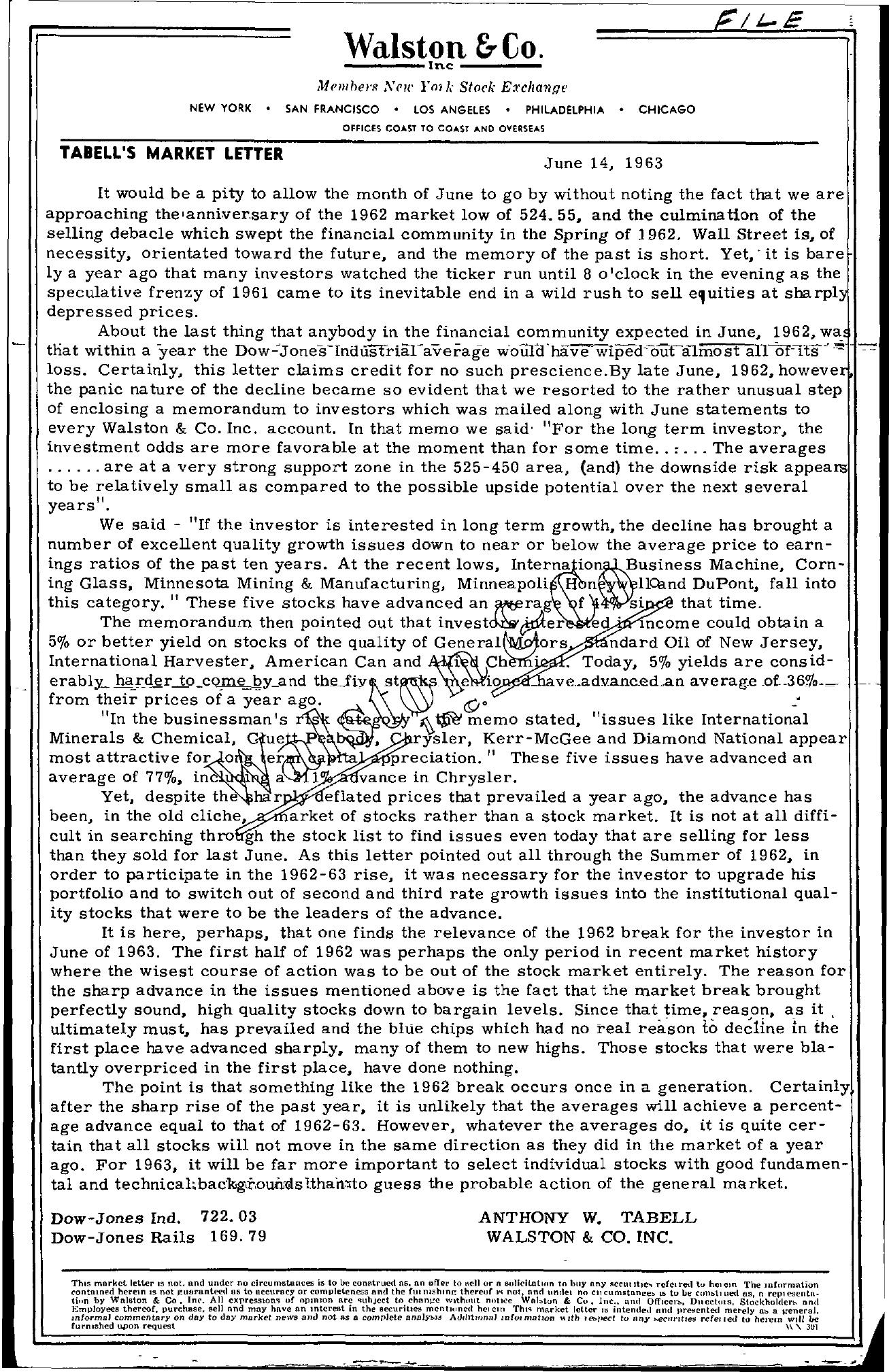 Tabell's Market Letter - June 14, 1963