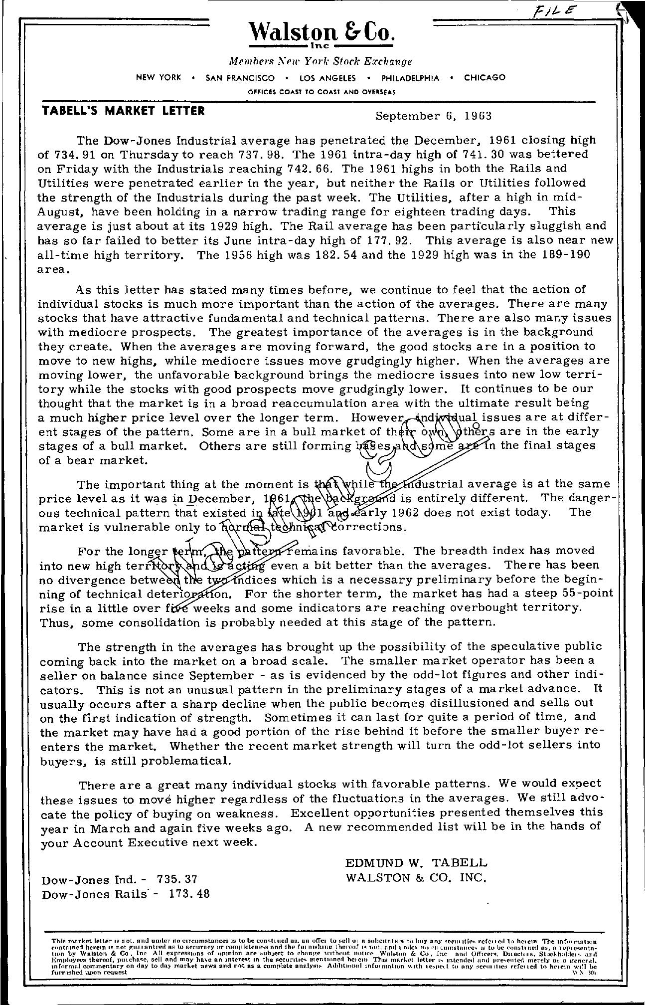 Tabell's Market Letter - September 06, 1963