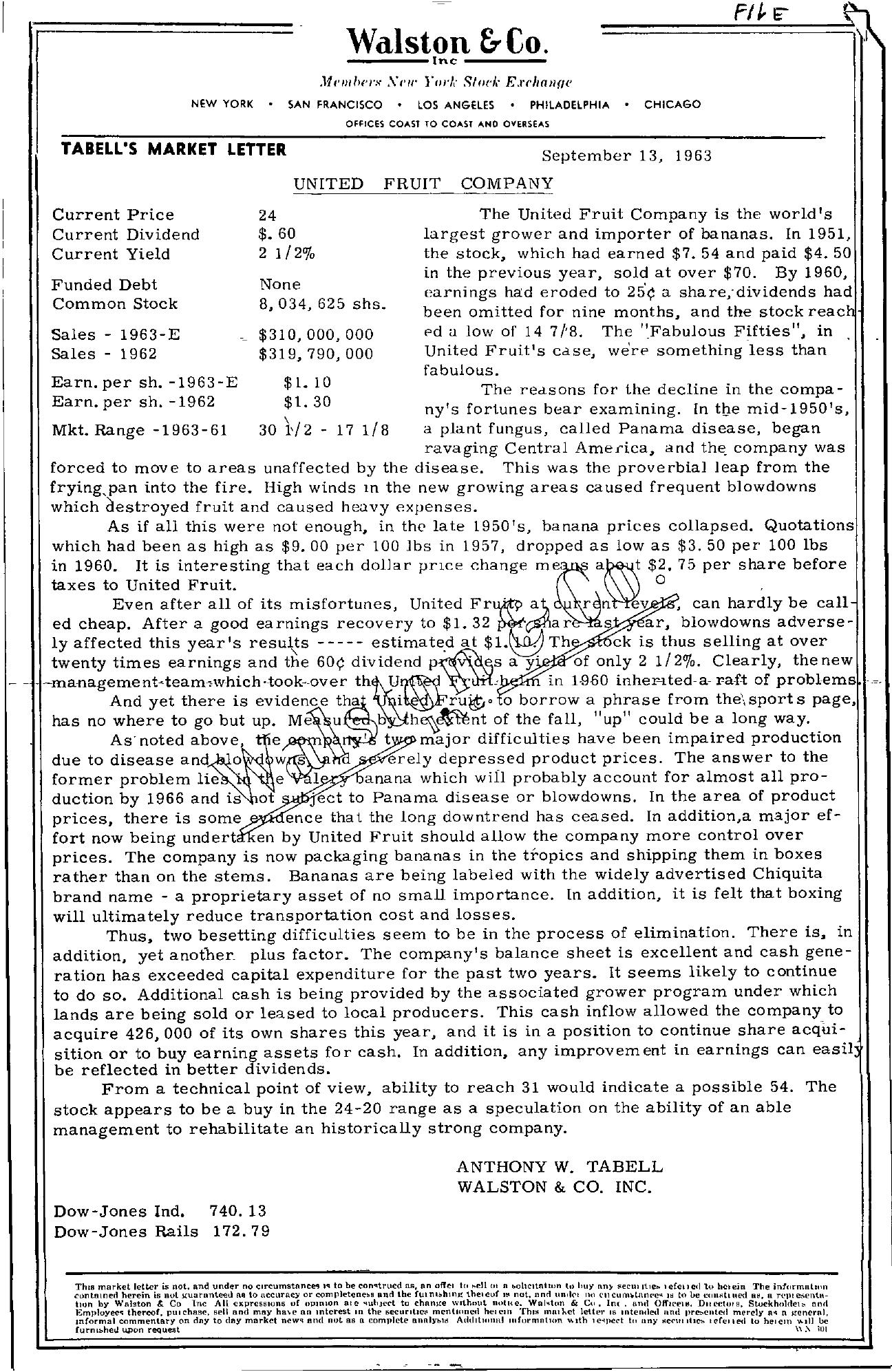 Tabell's Market Letter - September 13, 1963