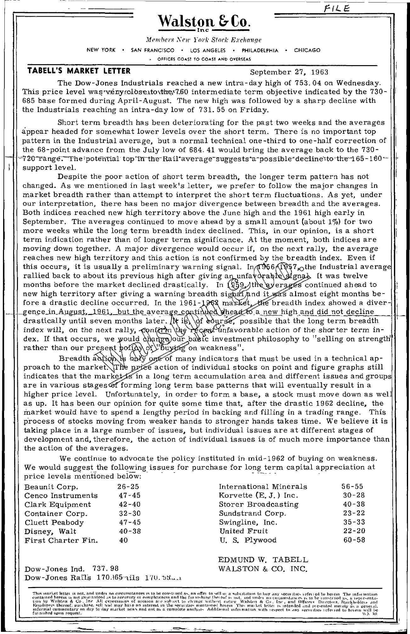 Tabell's Market Letter - September 27, 1963