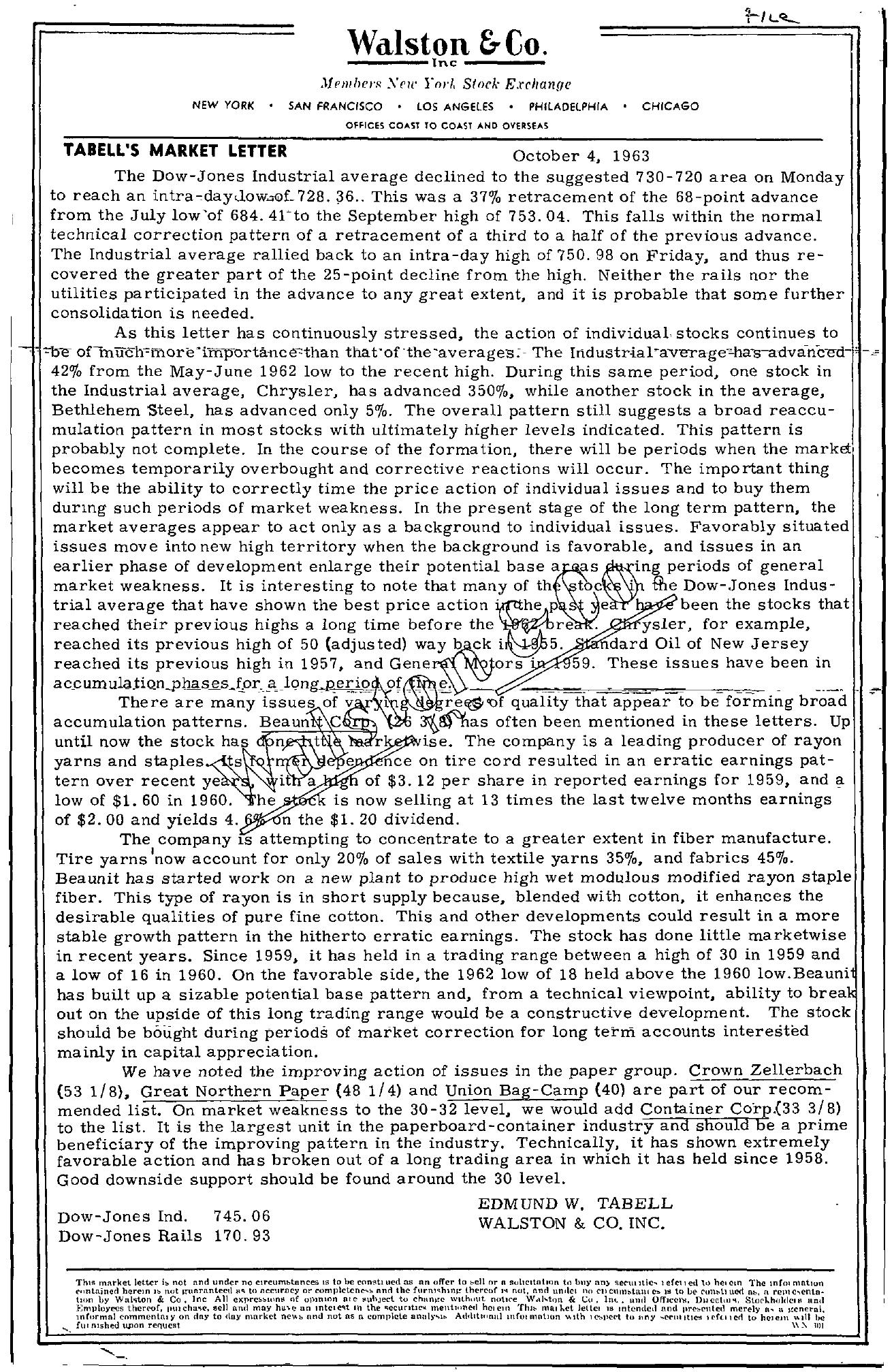 Tabell's Market Letter - October 04, 1963