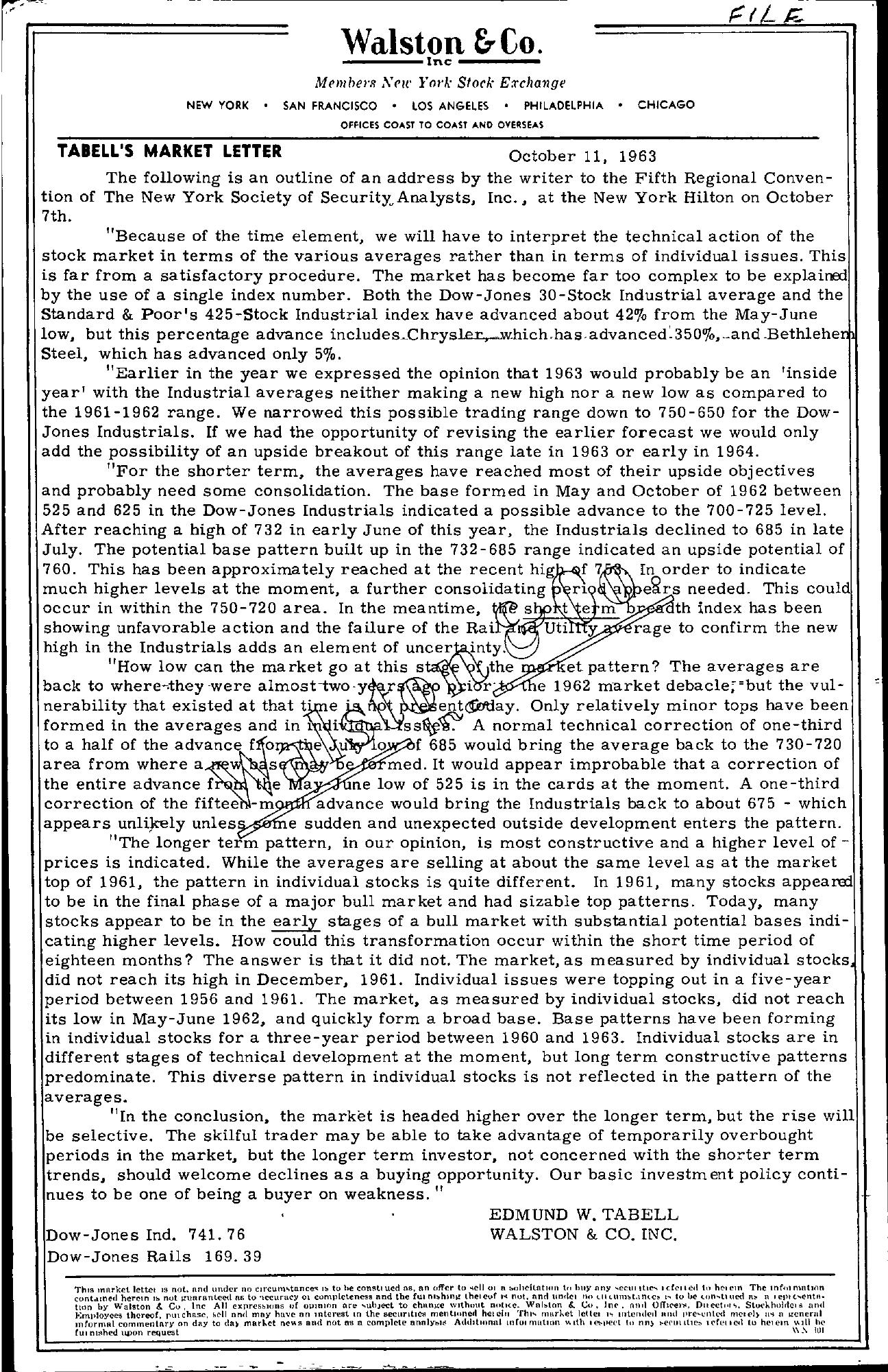 Tabell's Market Letter - October 11, 1963