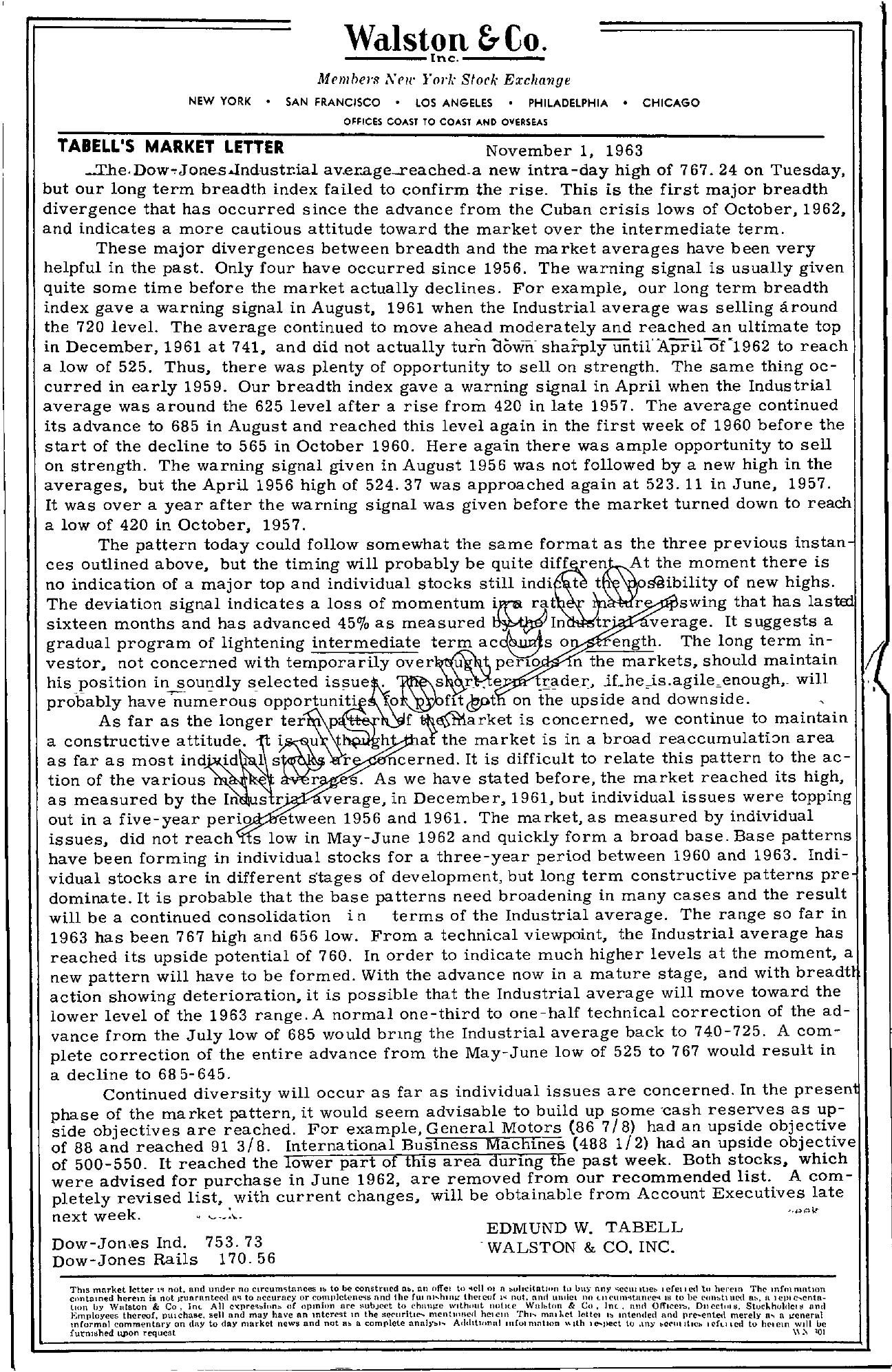 Tabell's Market Letter - November 01, 1963