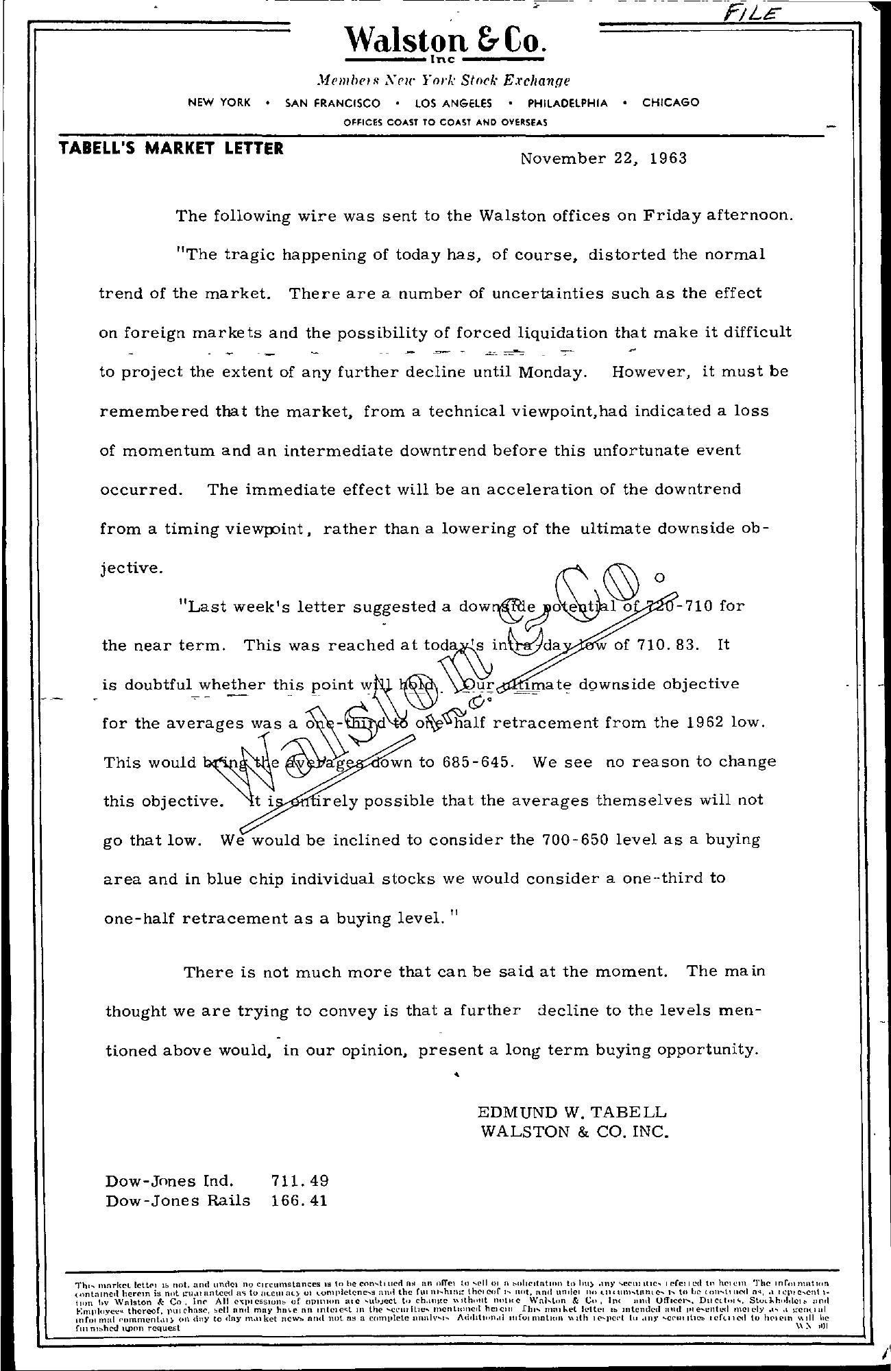 Tabell's Market Letter - November 22, 1963