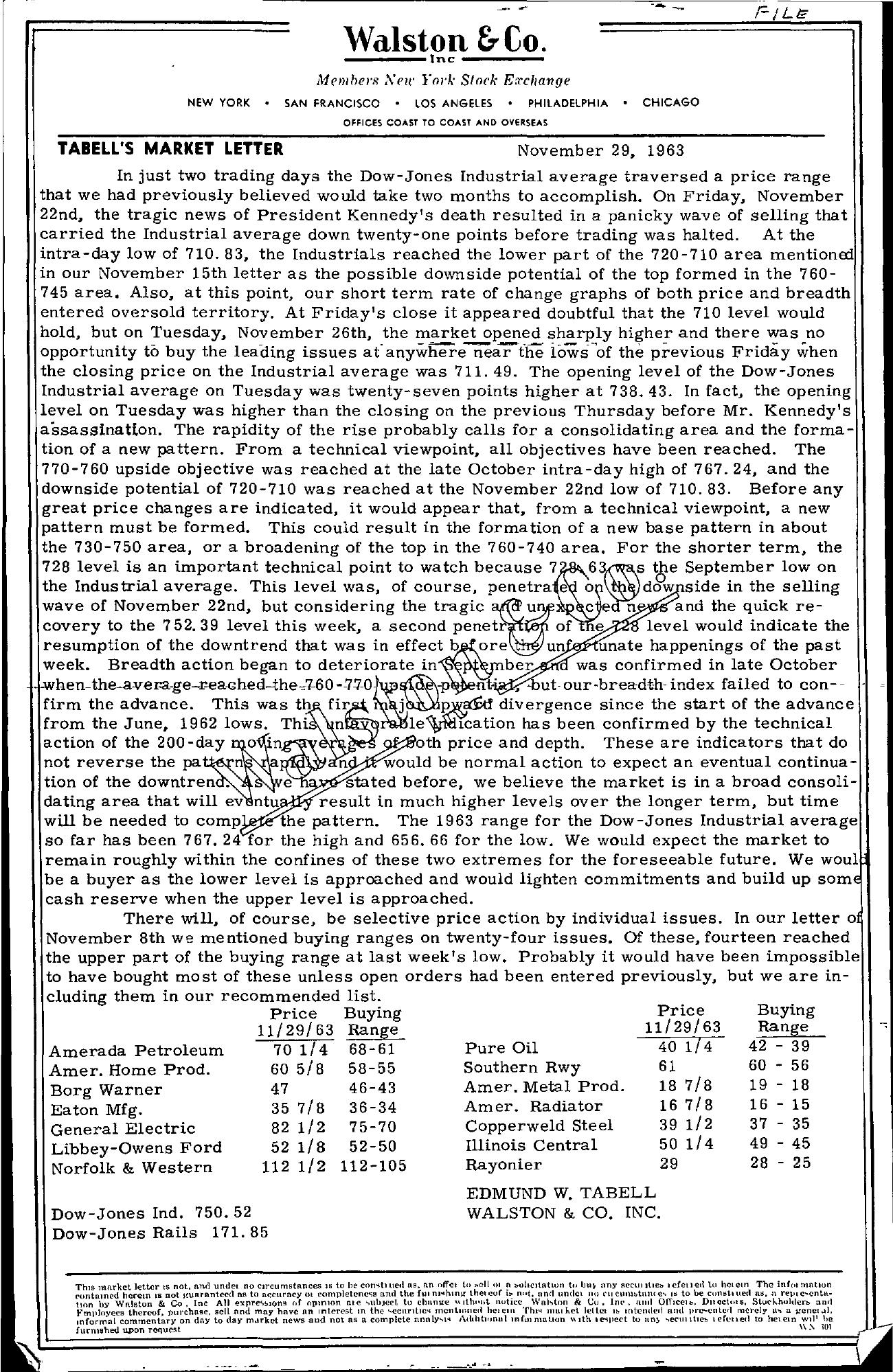 Tabell's Market Letter - November 29, 1963