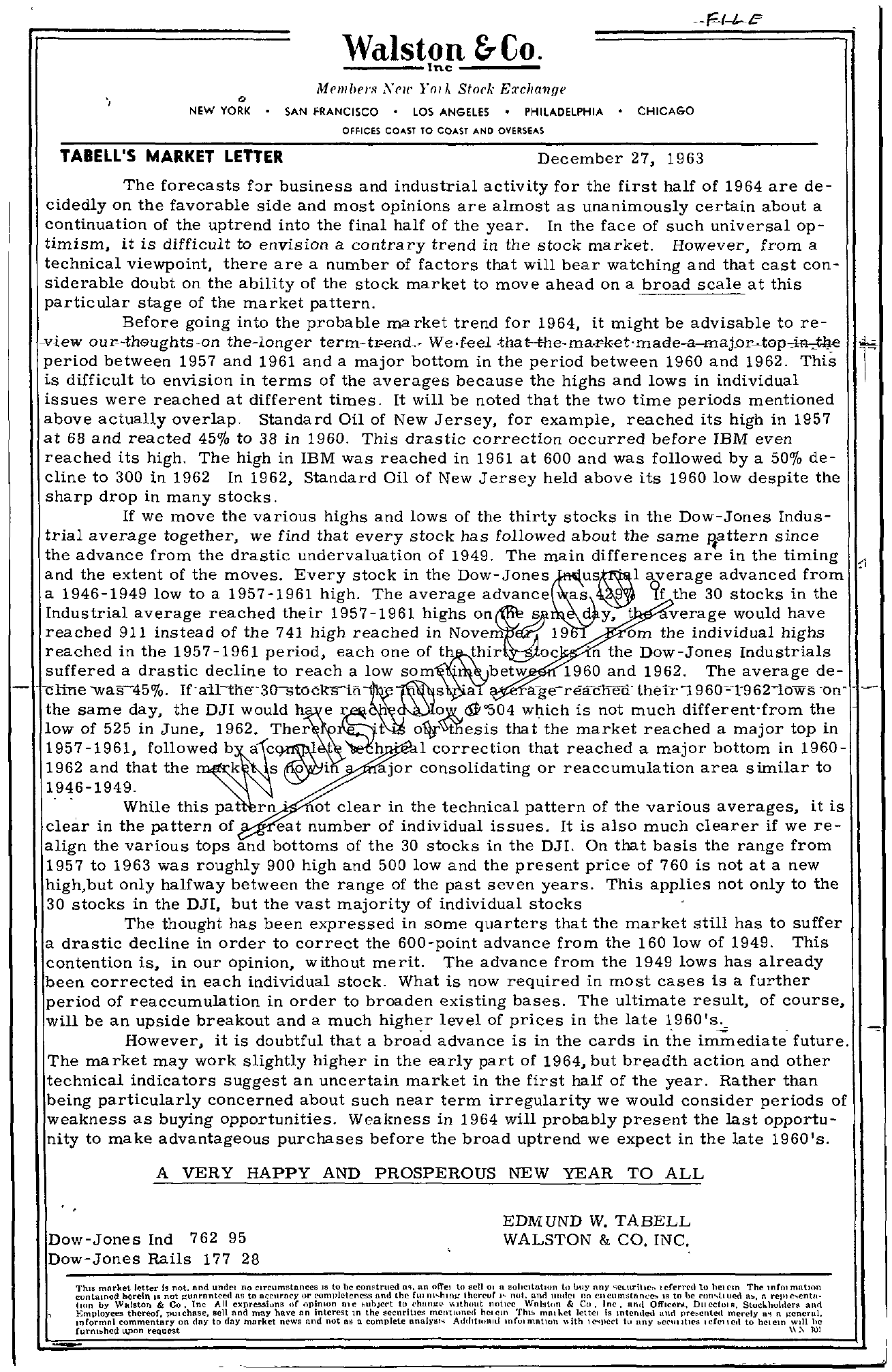 Tabell's Market Letter - December 27, 1963