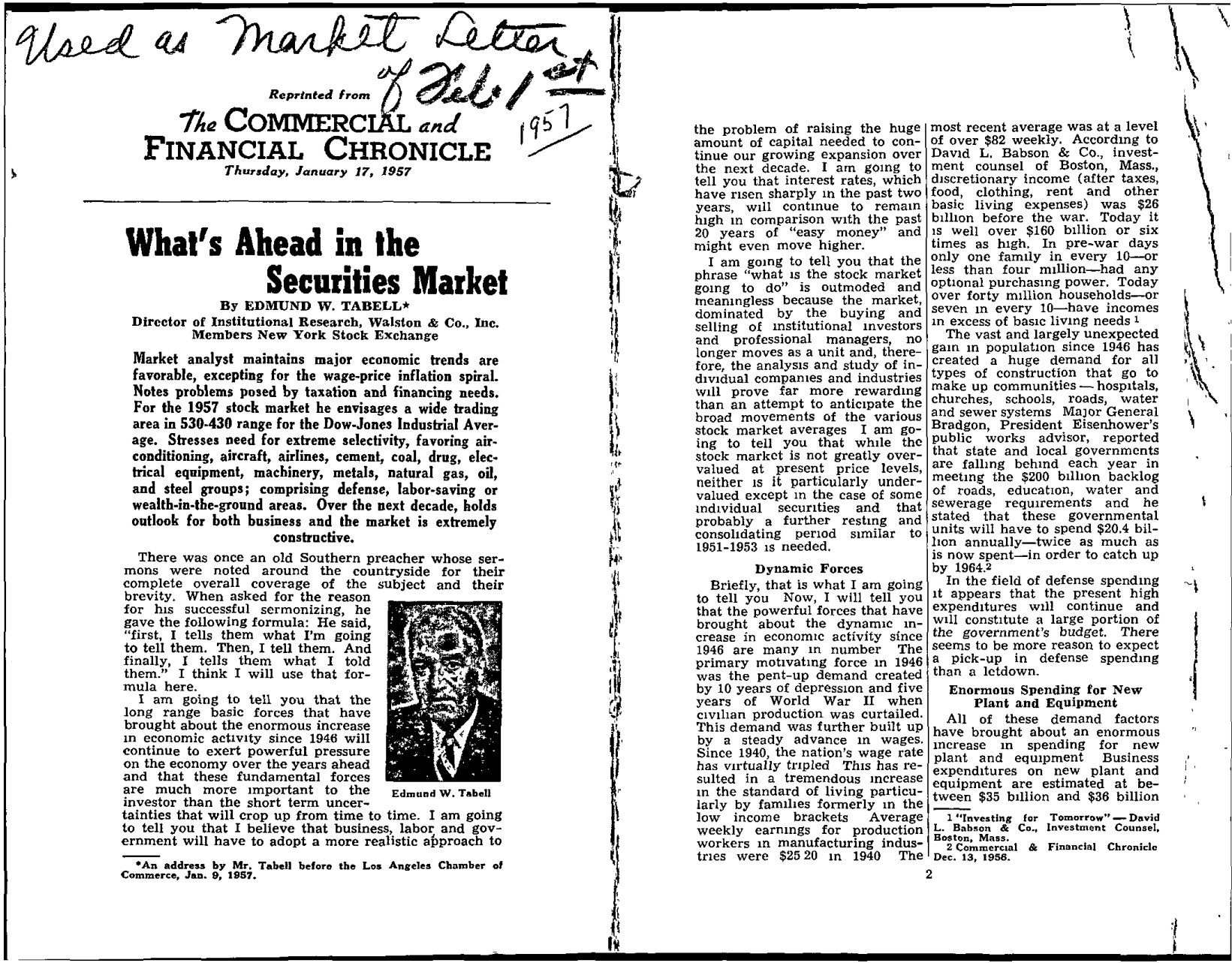 Tabell's Market Letter - February 01, 1957 page 1