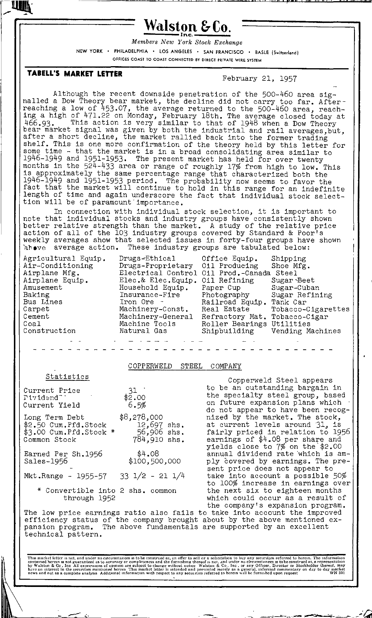 Tabell's Market Letter - February 21, 1957 page 1