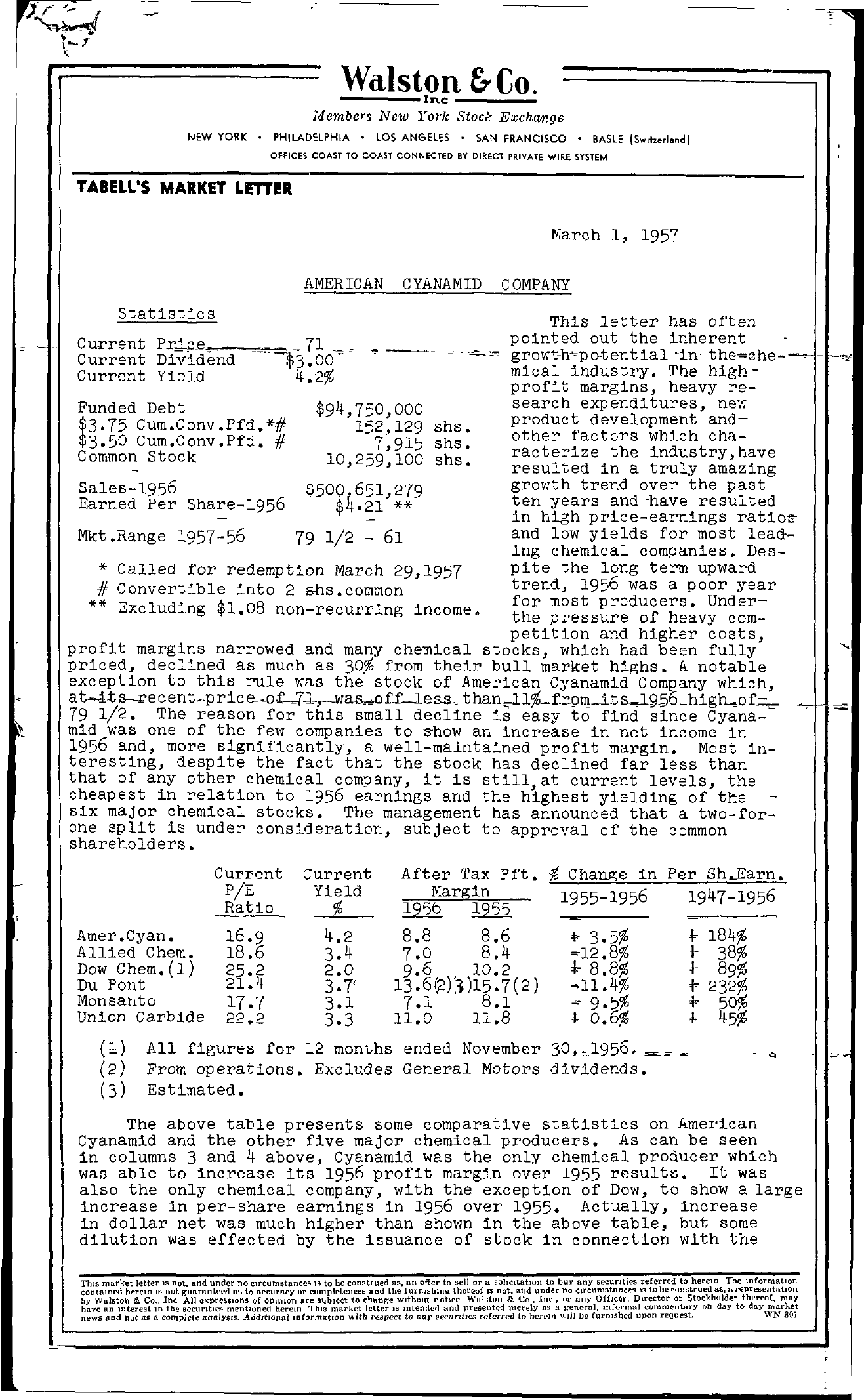 Tabell's Market Letter - March 01, 1957 page 1