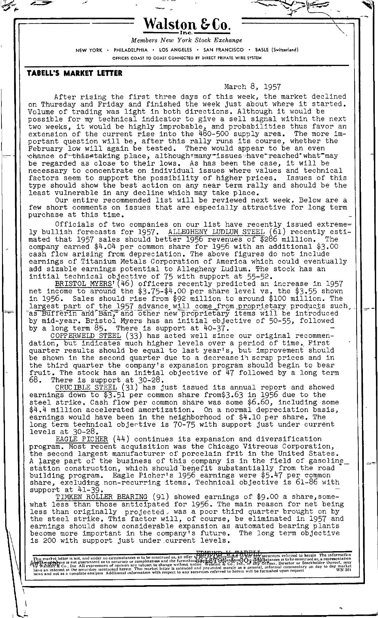 Tabell's Market Letter - March 08, 1957
