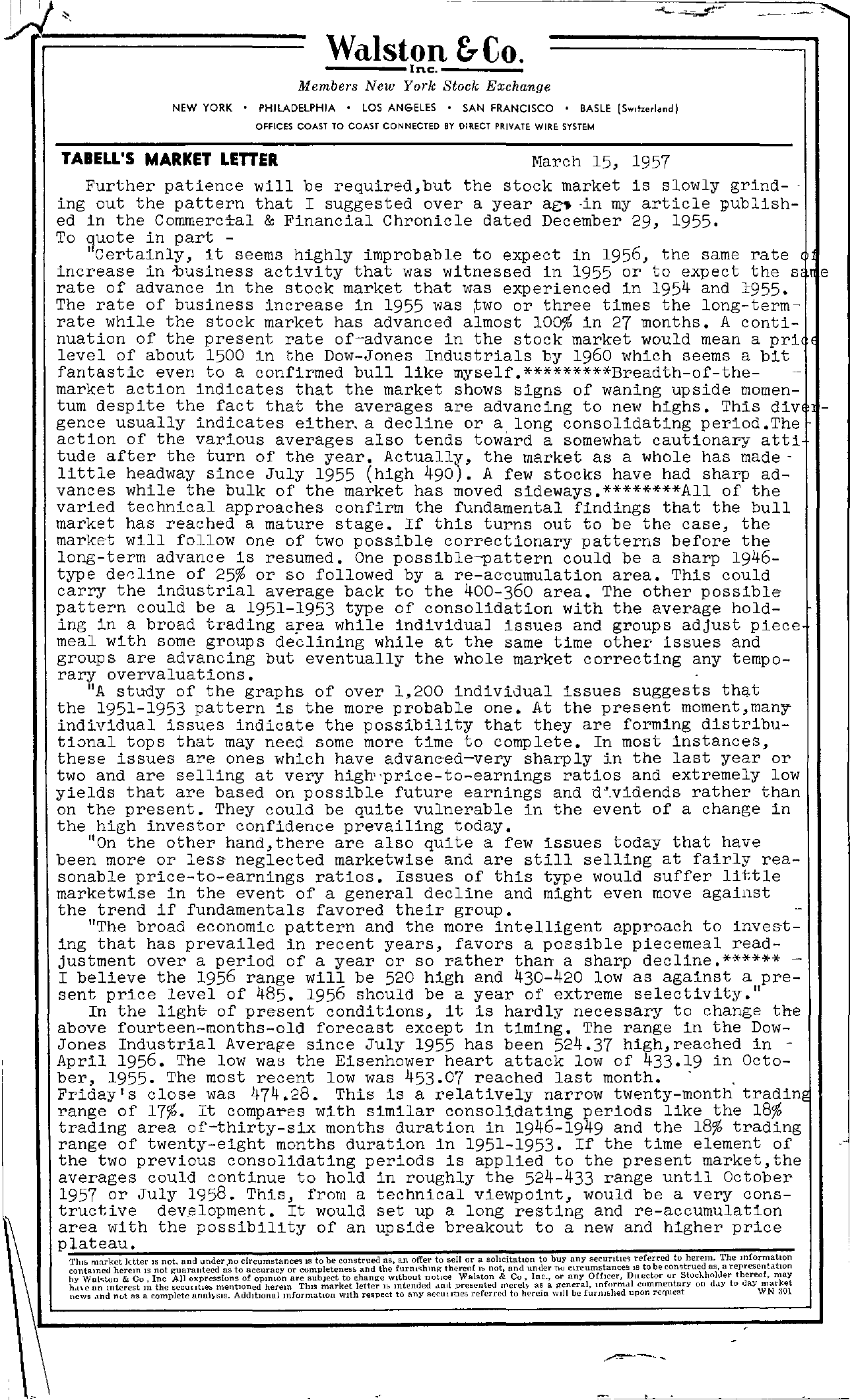 Tabell's Market Letter - March 15, 1957 page 1