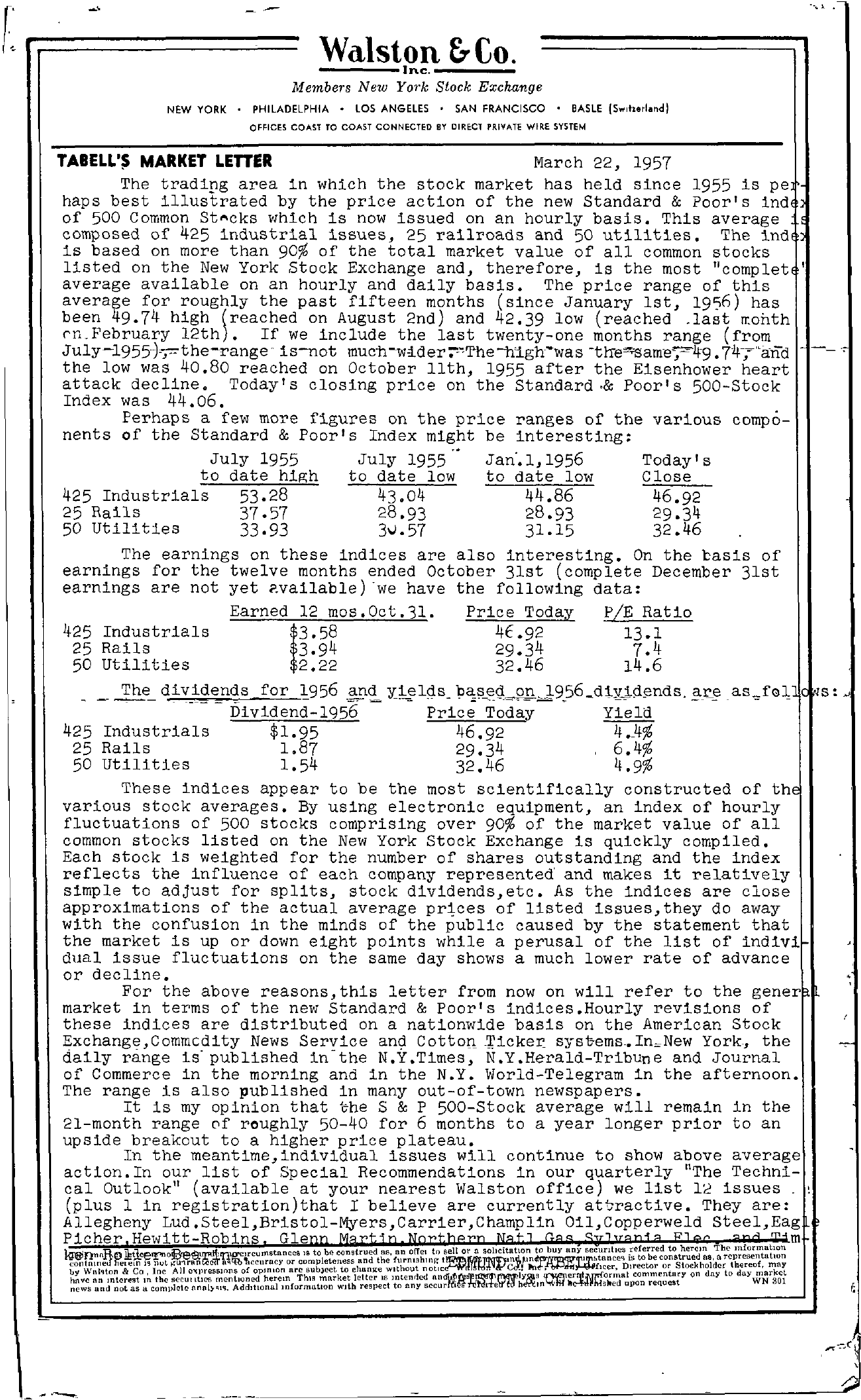 Tabell's Market Letter - March 22, 1957