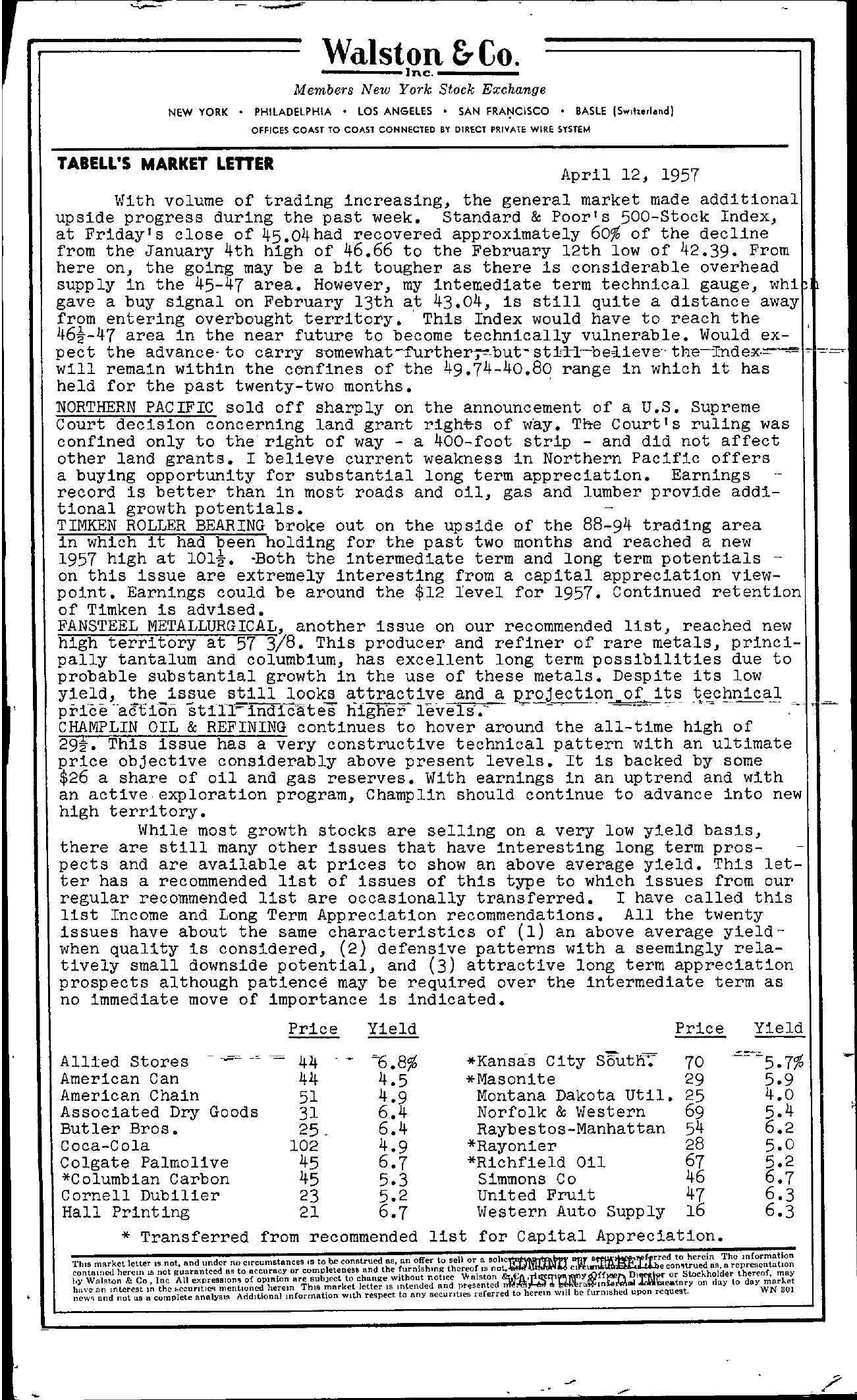 Tabell's Market Letter - April 12, 1957