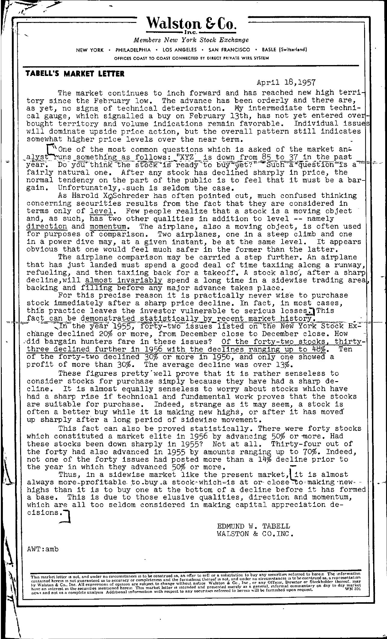 Tabell's Market Letter - April 18, 1957