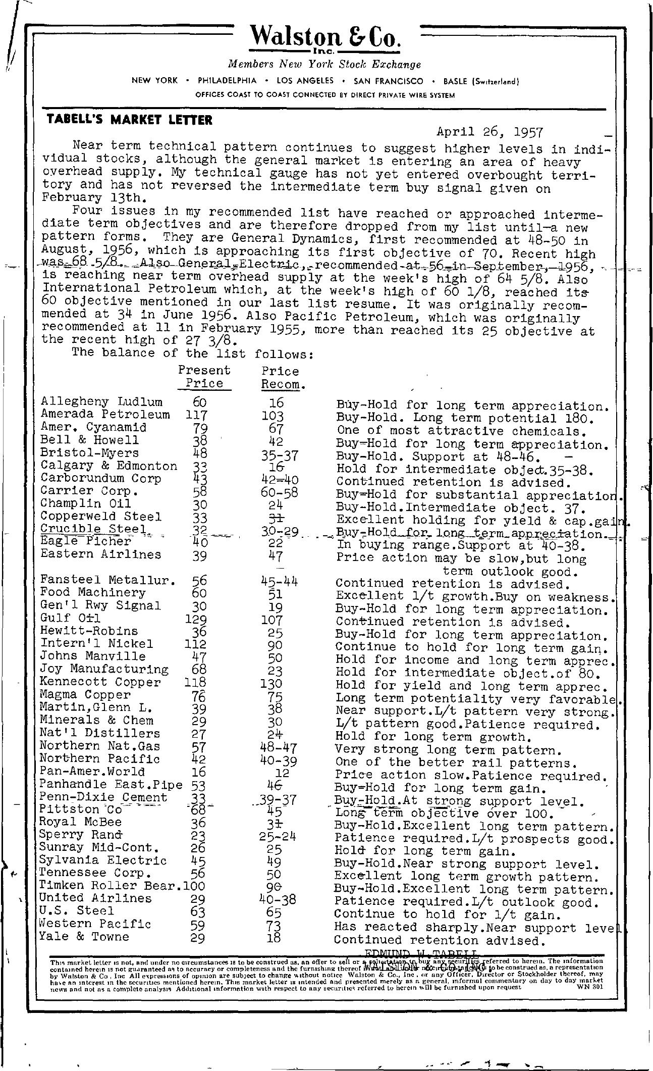 Tabell's Market Letter - April 26, 1957