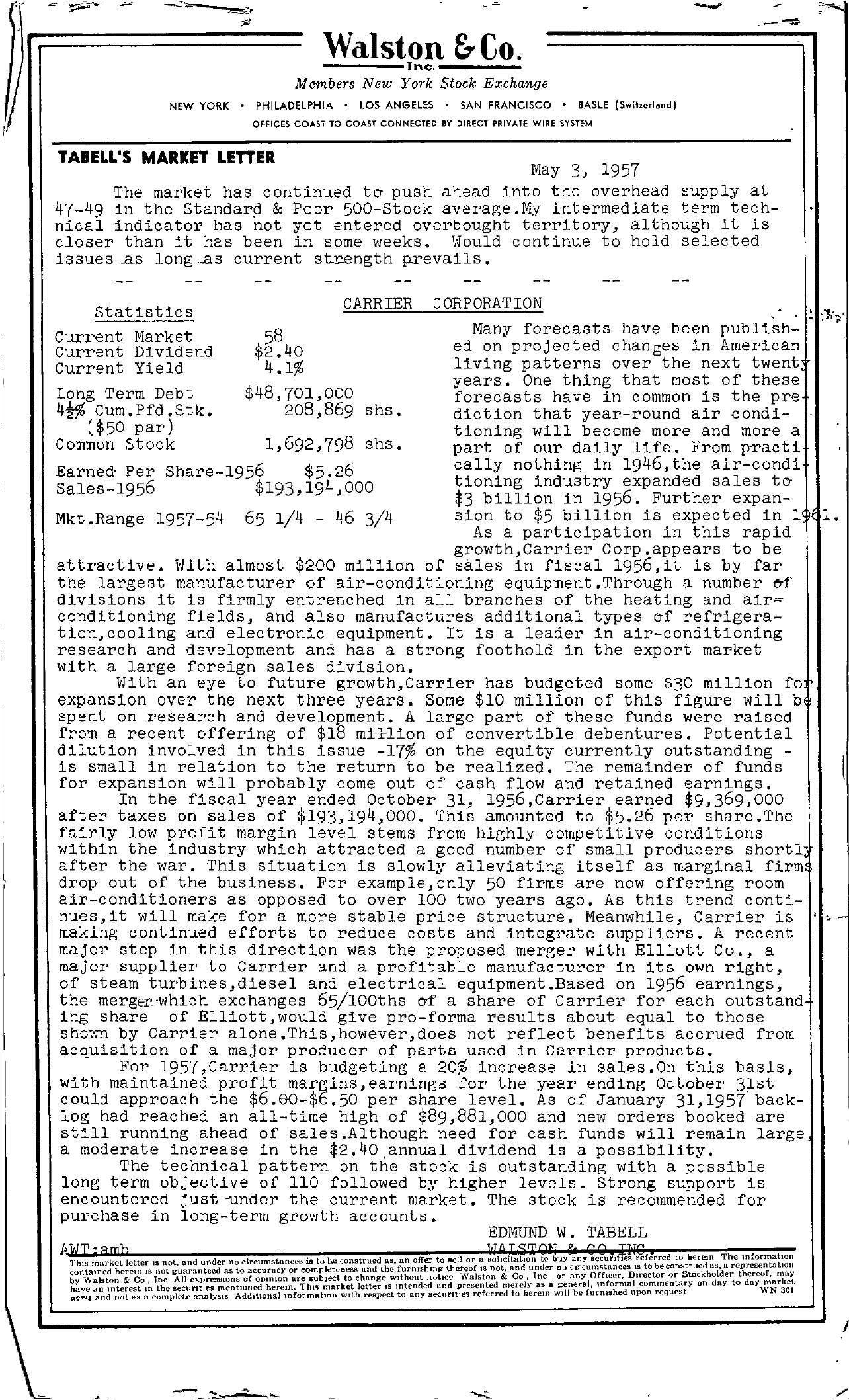 Tabell's Market Letter - May 03, 1957
