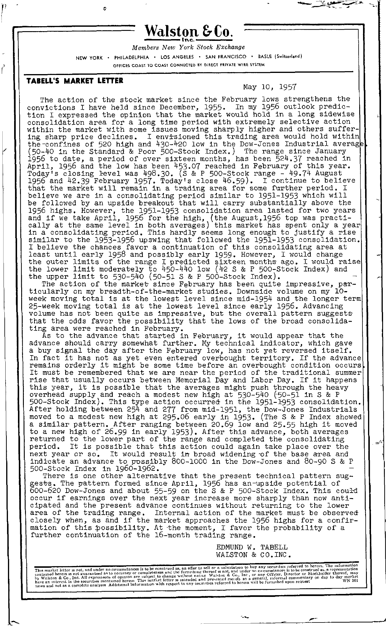 Tabell's Market Letter - May 10, 1957