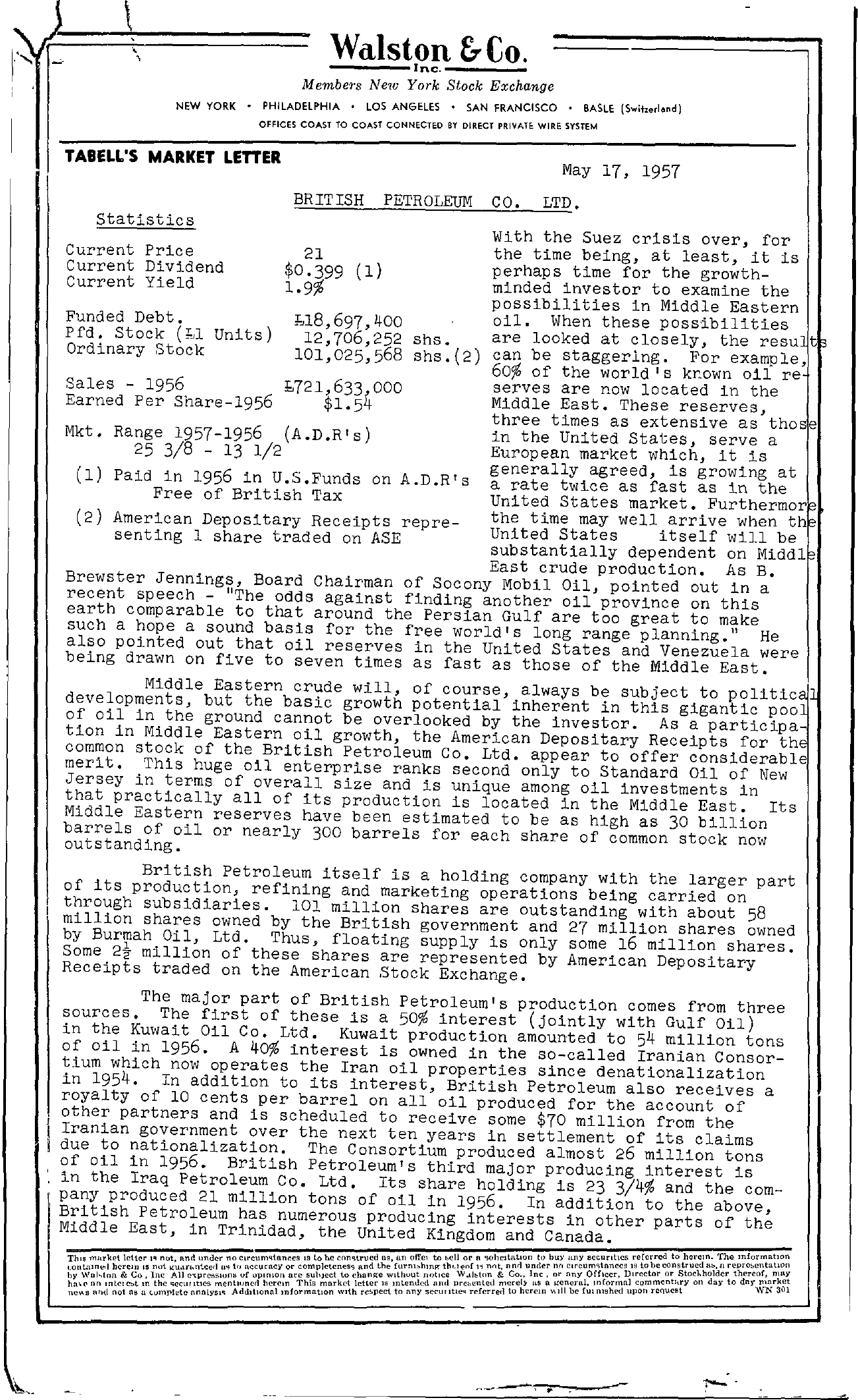 Tabell's Market Letter - May 17, 1957 page 1