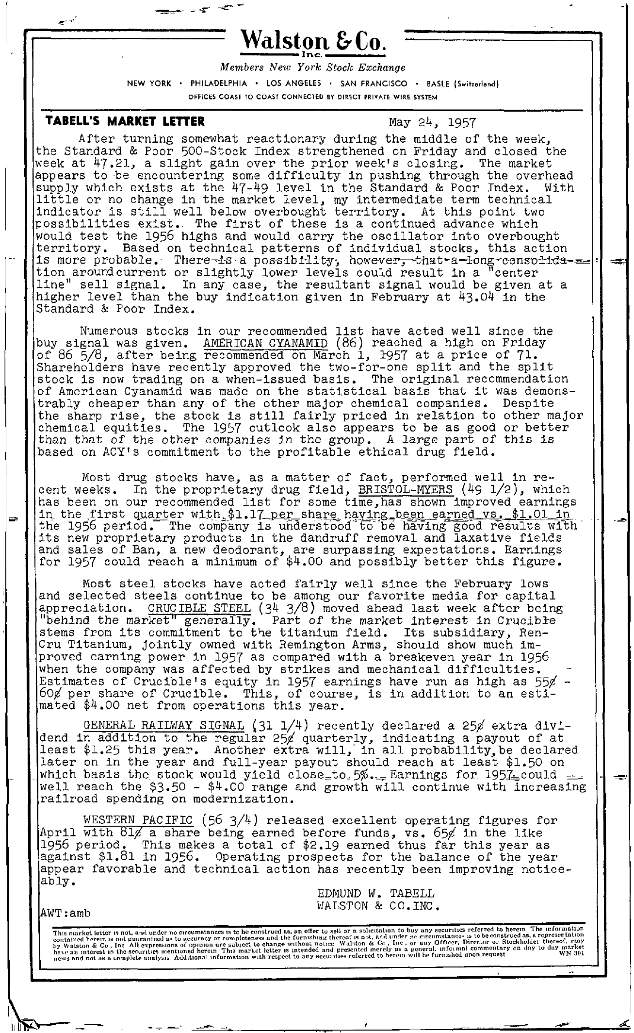 Tabell's Market Letter - May 24, 1957