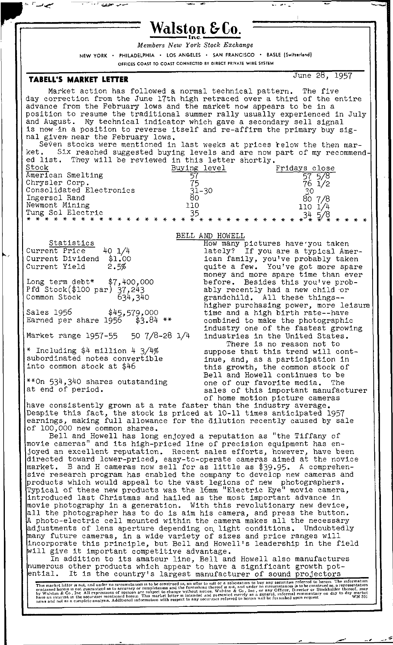 Tabell's Market Letter - June 28, 1957 page 1