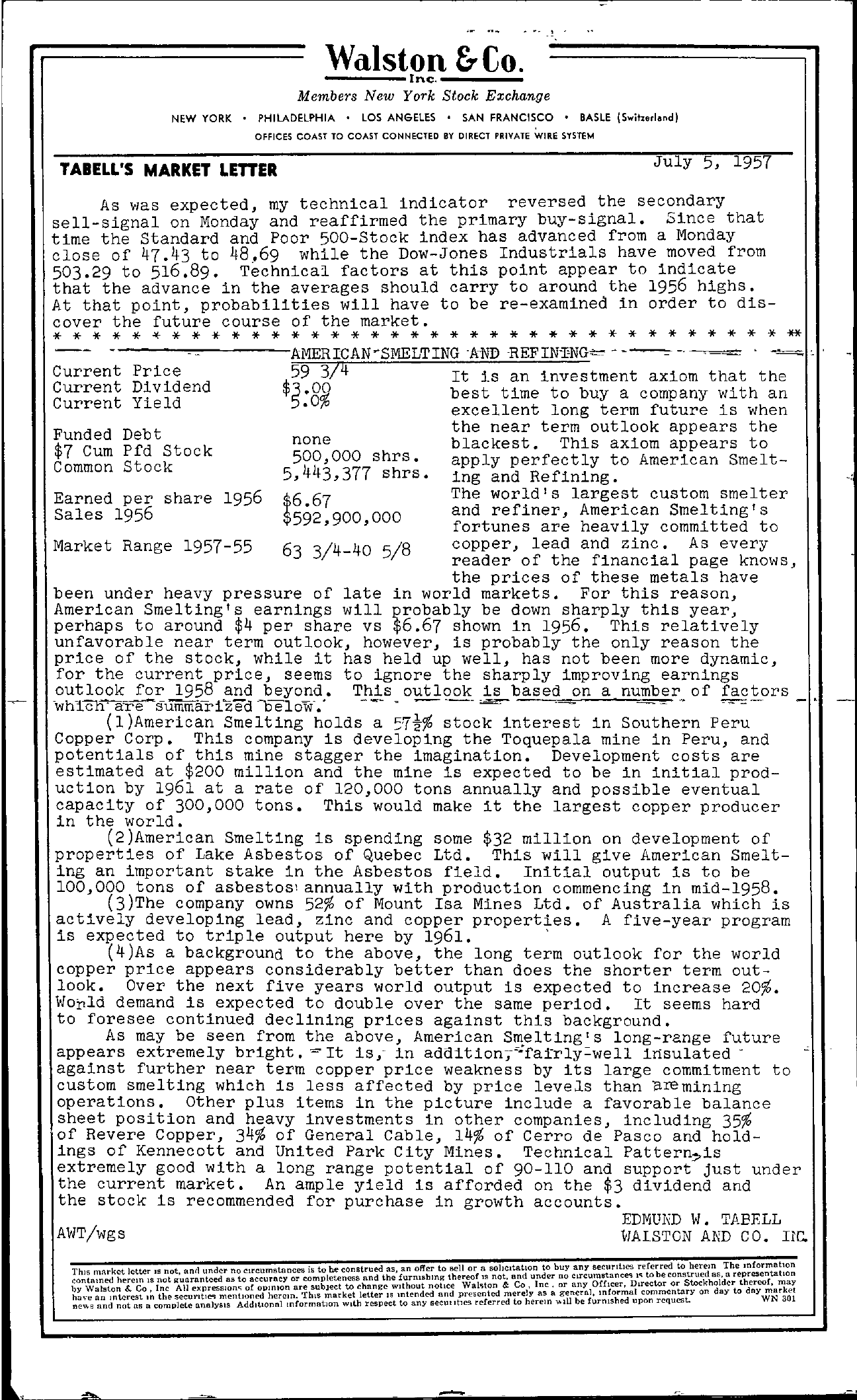 Tabell's Market Letter - July 05, 1957