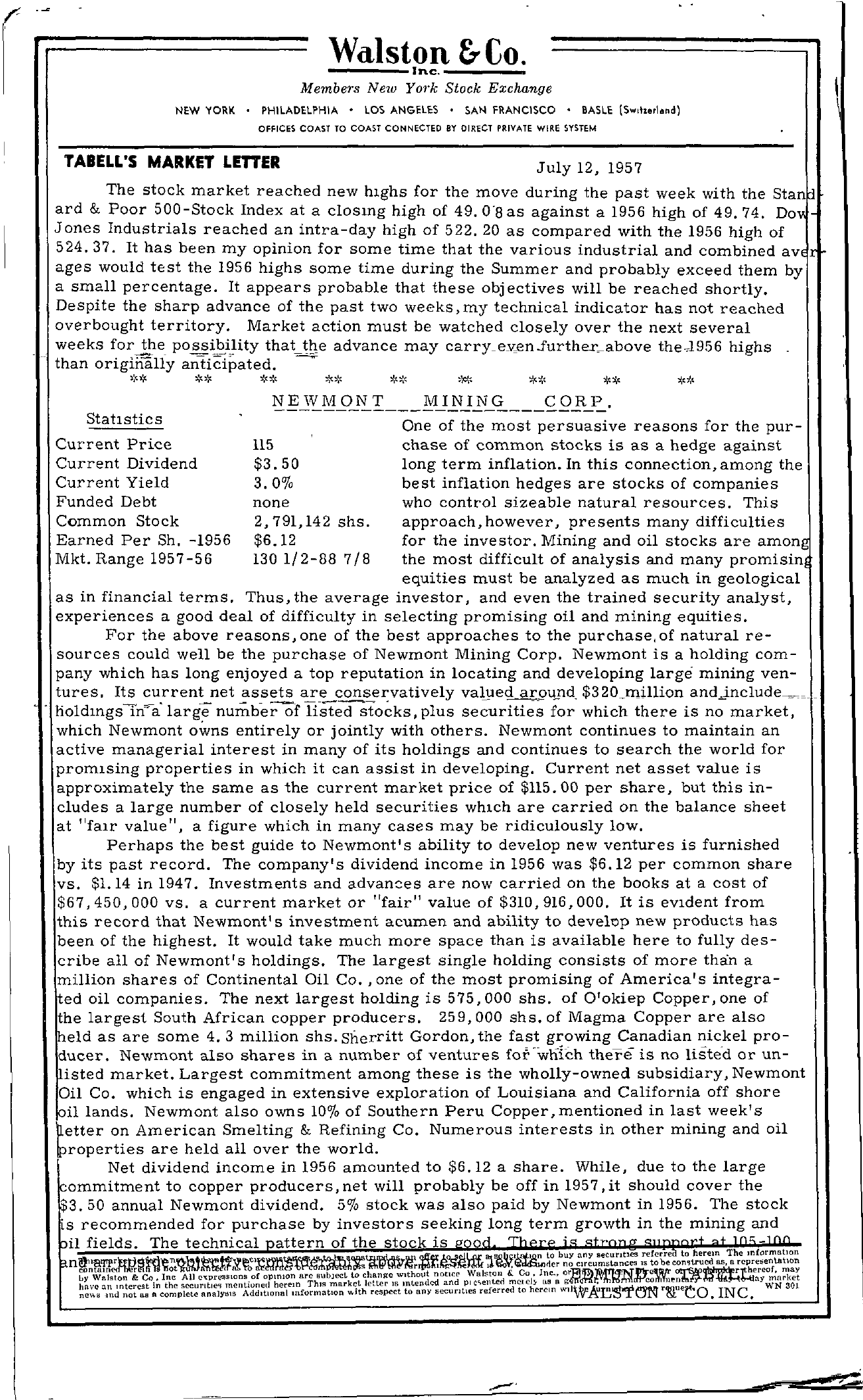 Tabell's Market Letter - July 12, 1957