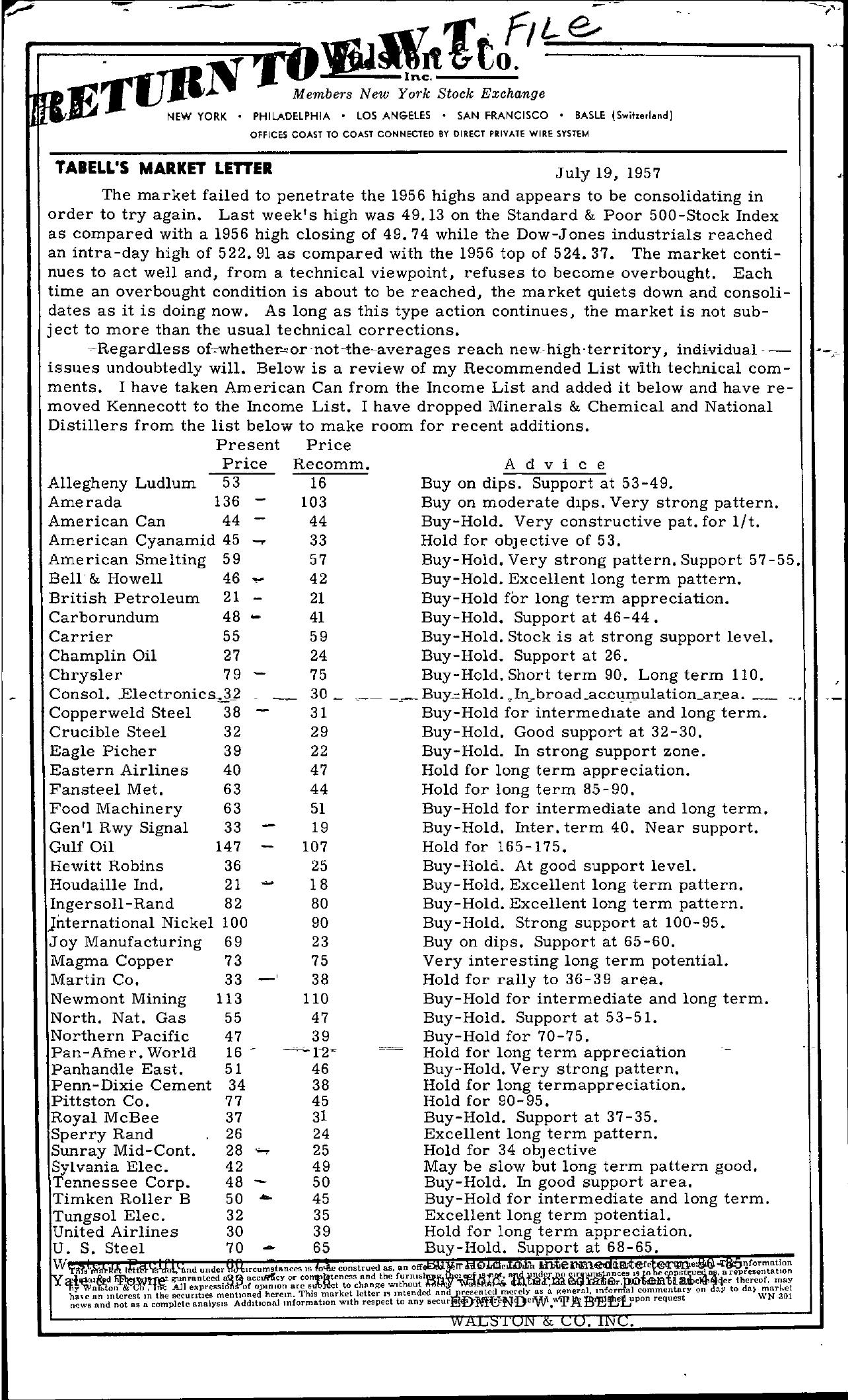 Tabell's Market Letter - July 19, 1957