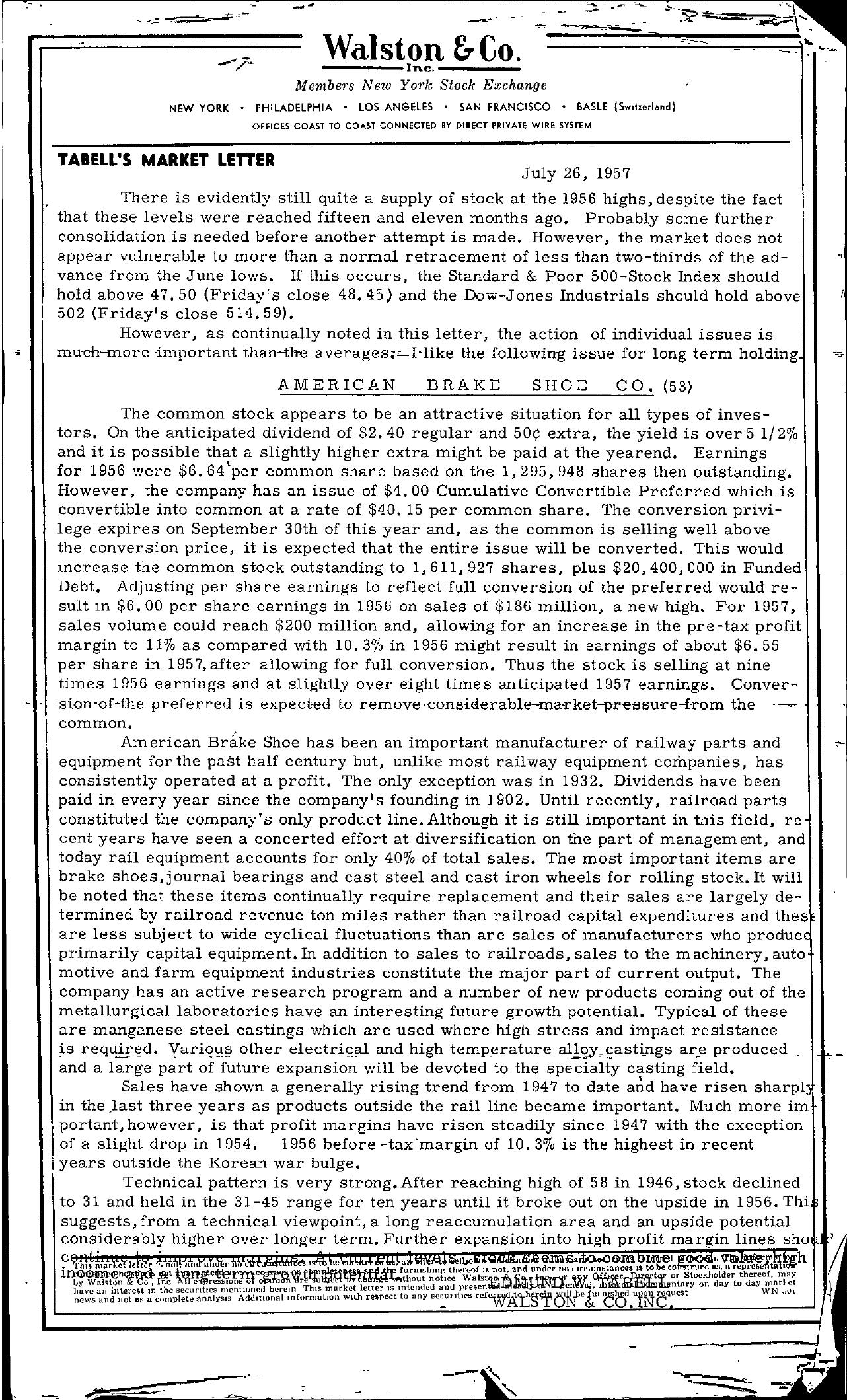 Tabell's Market Letter - July 26, 1957