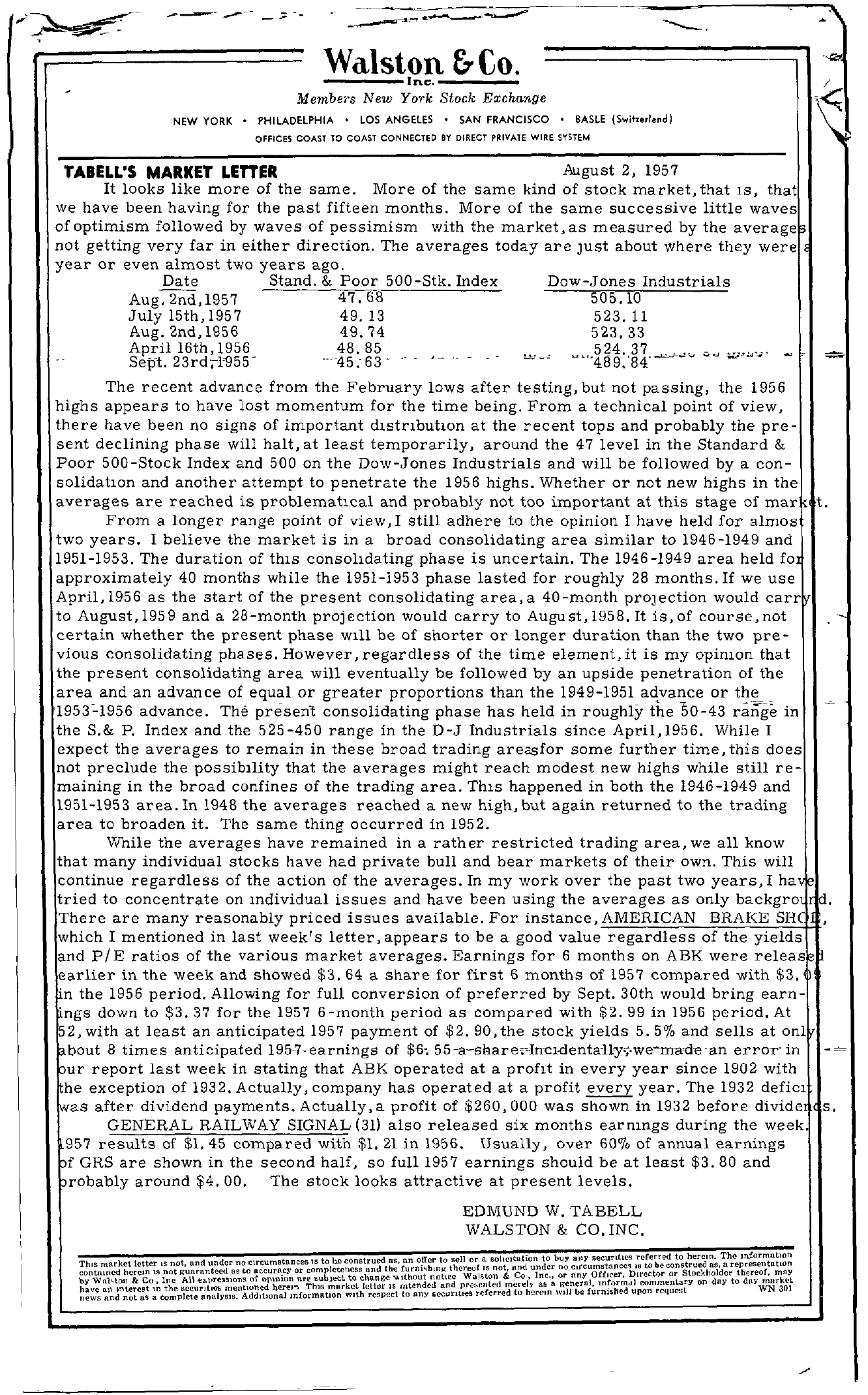Tabell's Market Letter - August 02, 1957