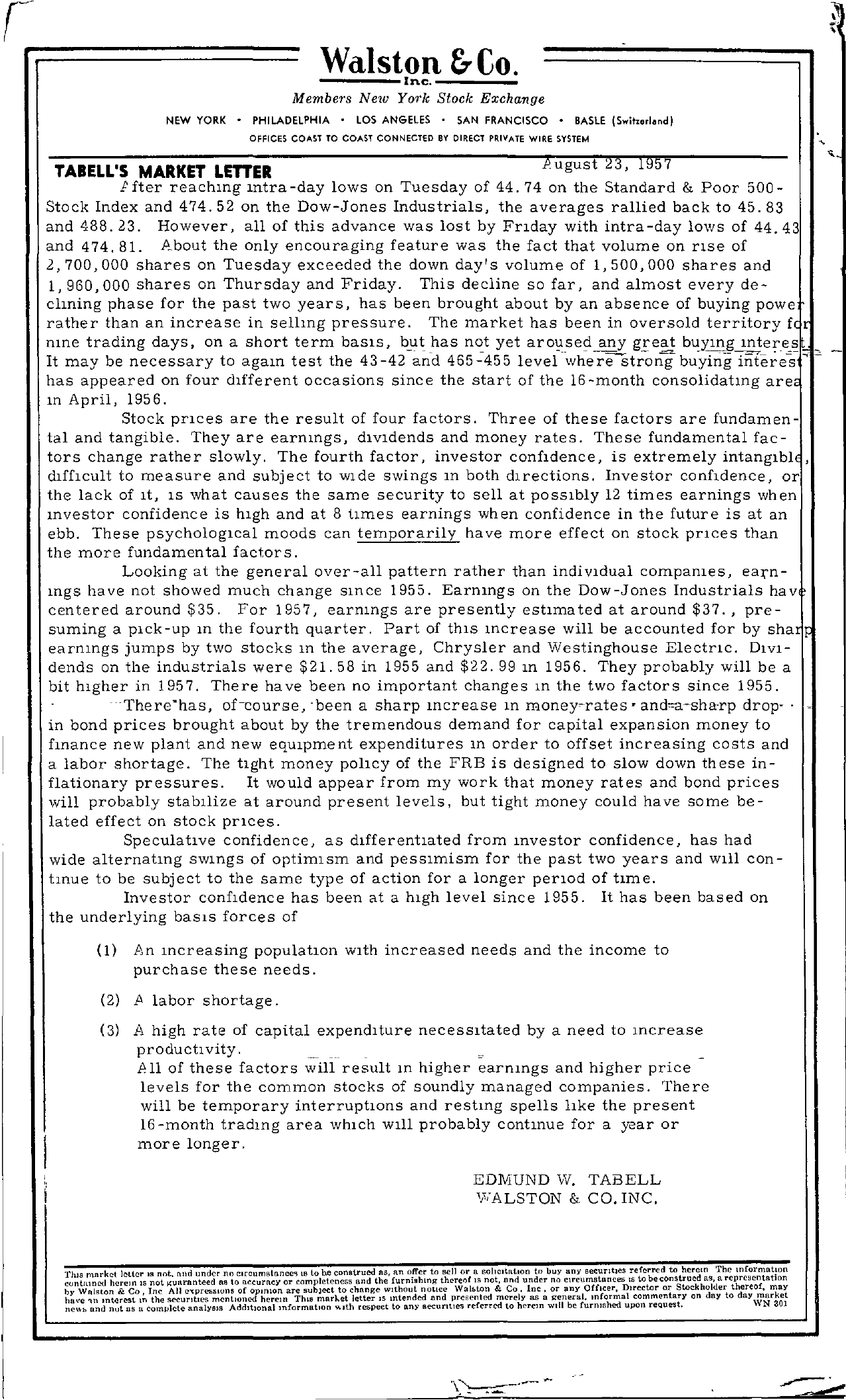 Tabell's Market Letter - August 23, 1957