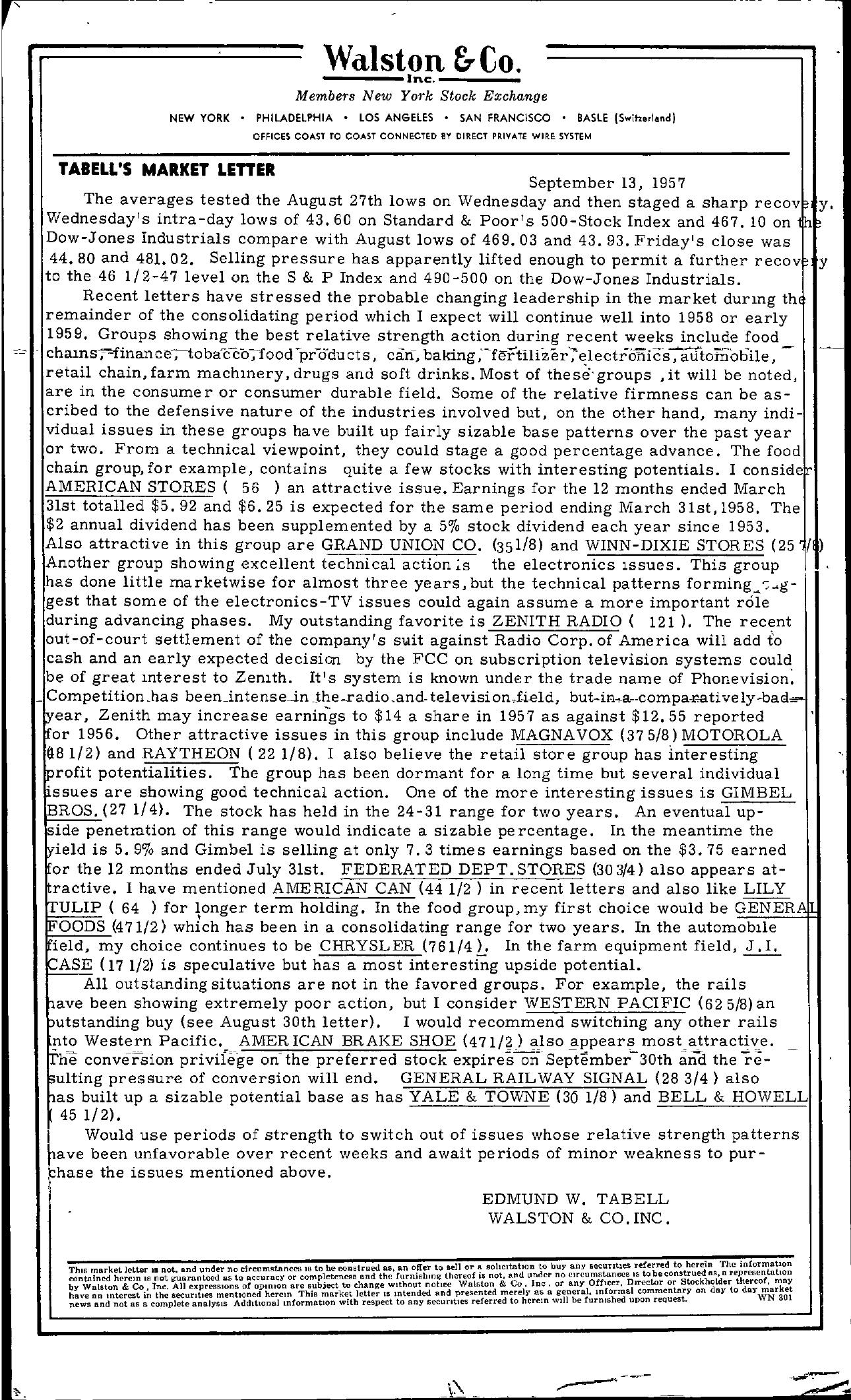 Tabell's Market Letter - September 13, 1957