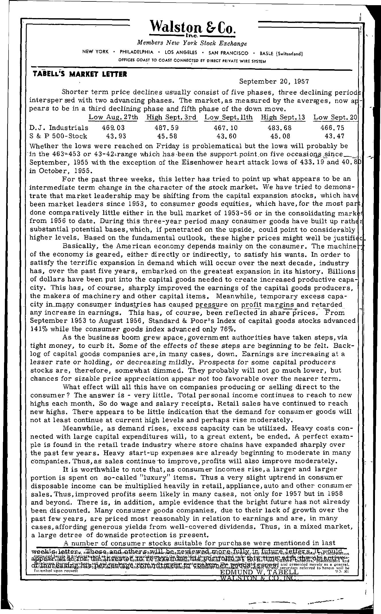Tabell's Market Letter - September 20, 1957
