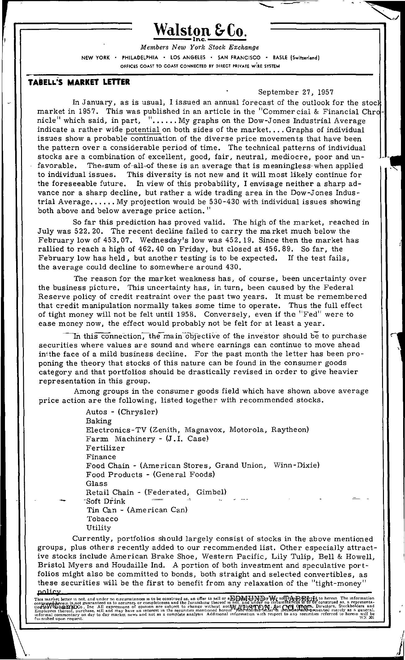 Tabell's Market Letter - September 27, 1957