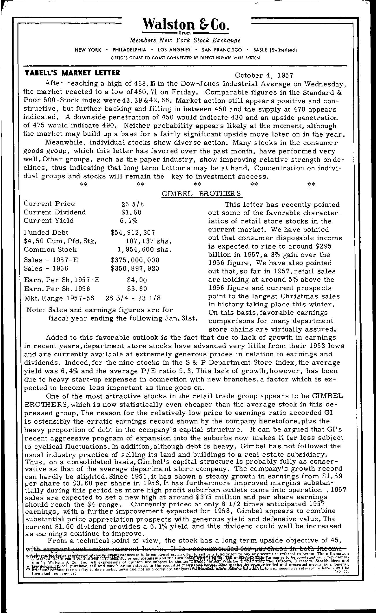 Tabell's Market Letter - October 04, 1957