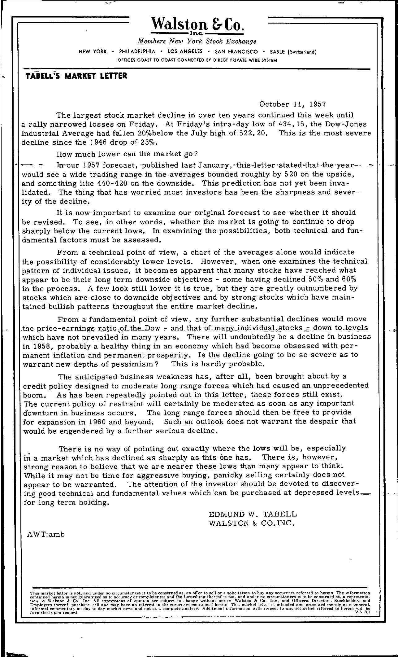 Tabell's Market Letter - October 11, 1957