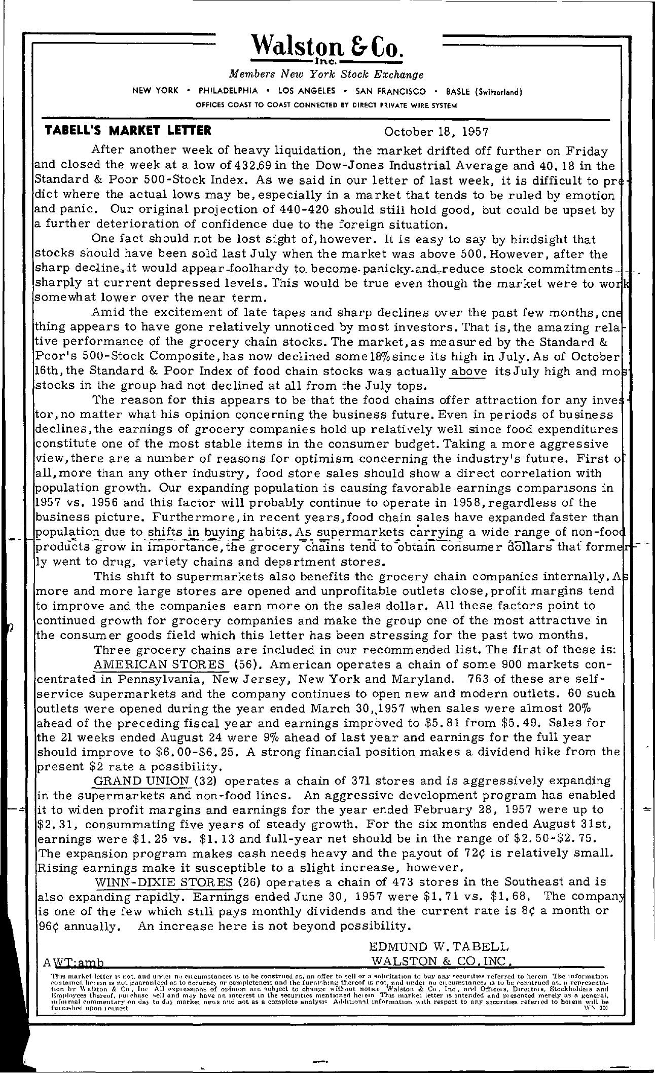 Tabell's Market Letter - October 18, 1957
