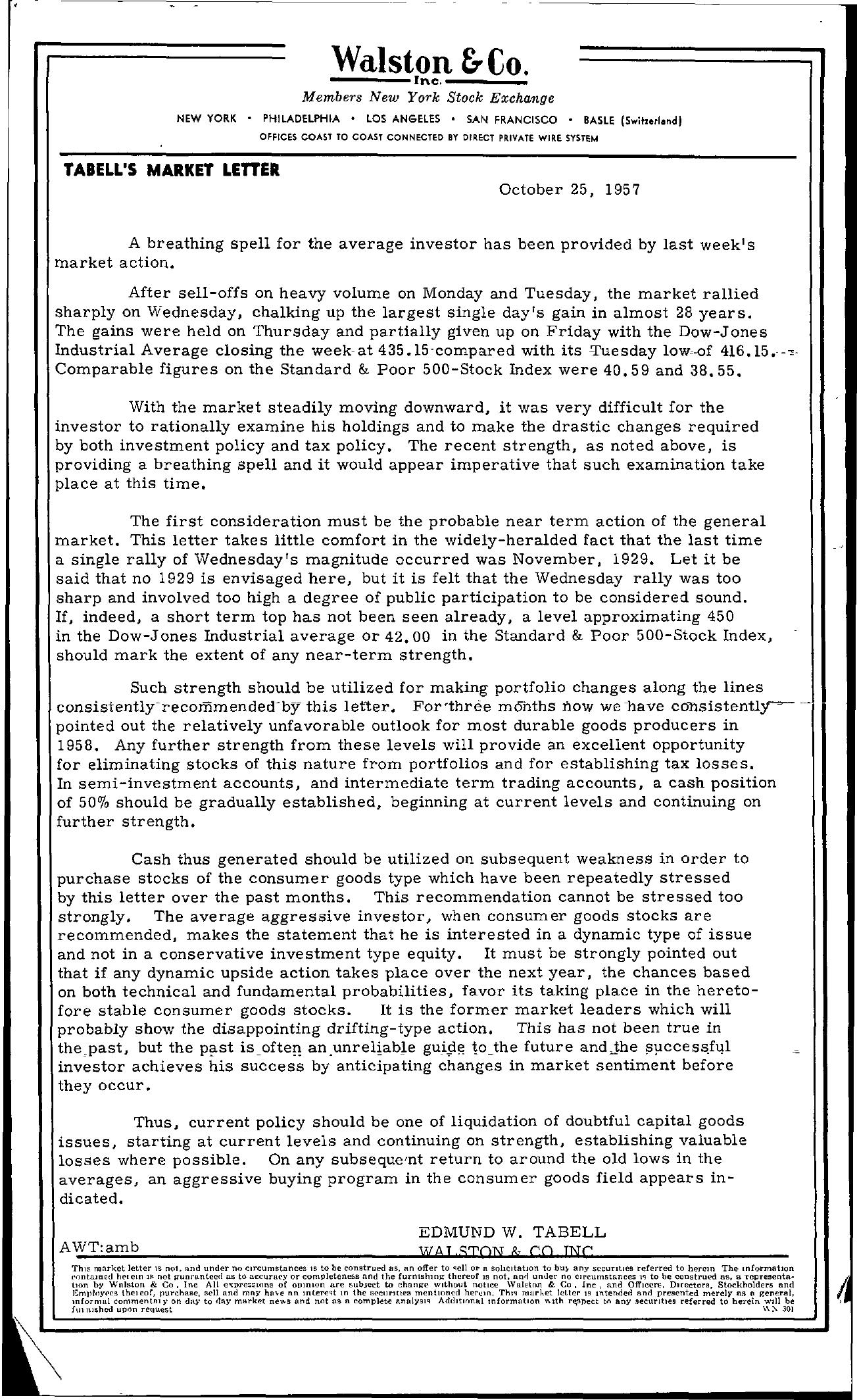 Tabell's Market Letter - October 25, 1957